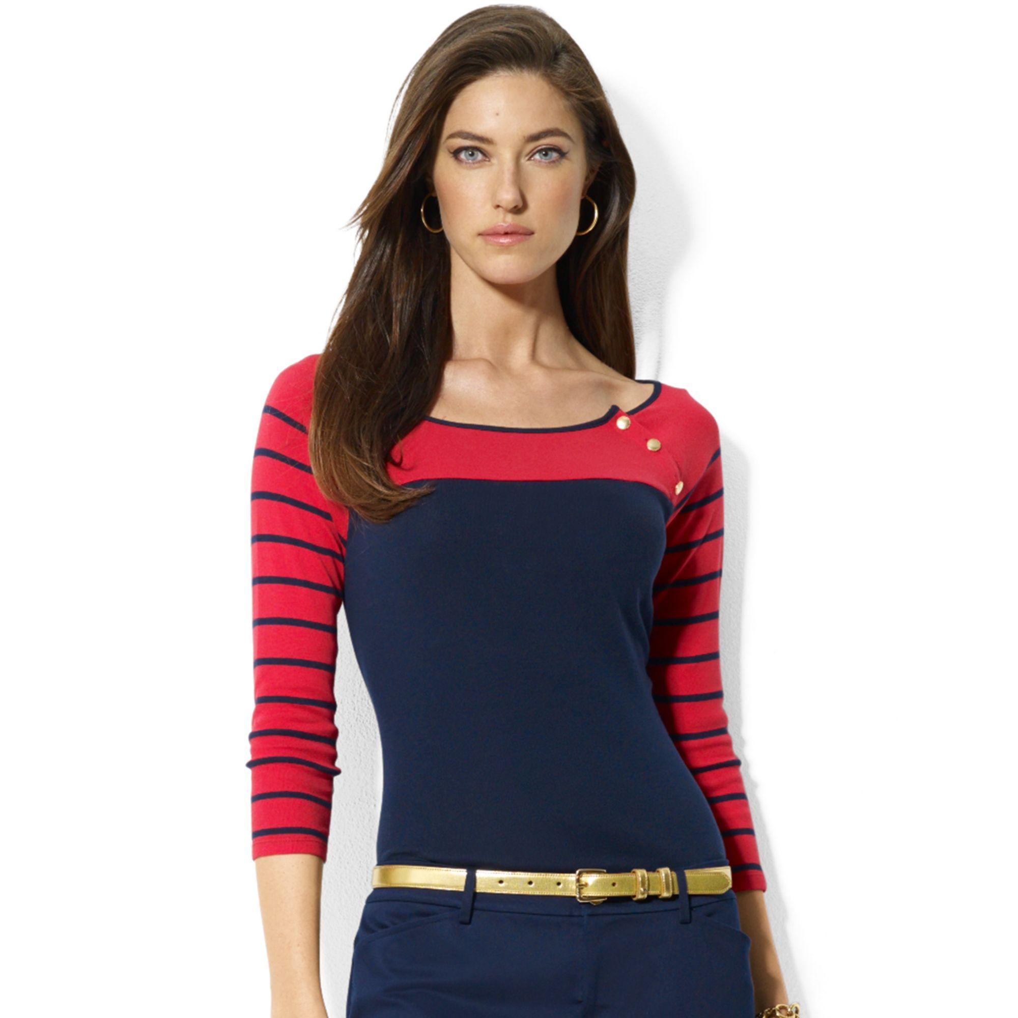 Lauren By Ralph Lauren Plus Size Elbowsleeve Colorblocked