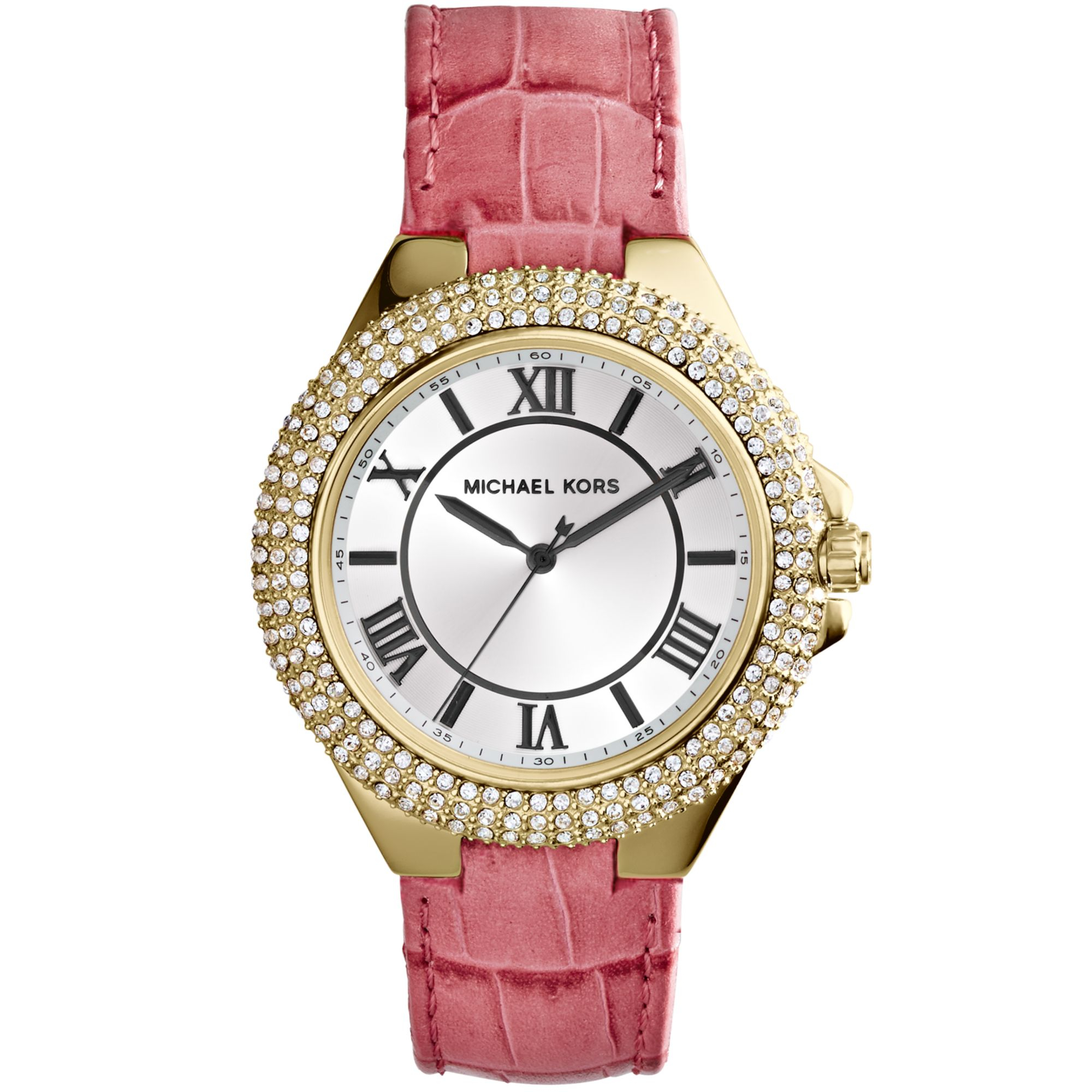 b9ba0c061b Michael Kors Womens Slim Camille Pink Leather Strap 33mm Watch in ...