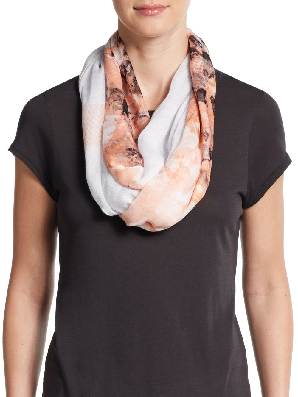 ivanka mixed print scarf in pink lyst