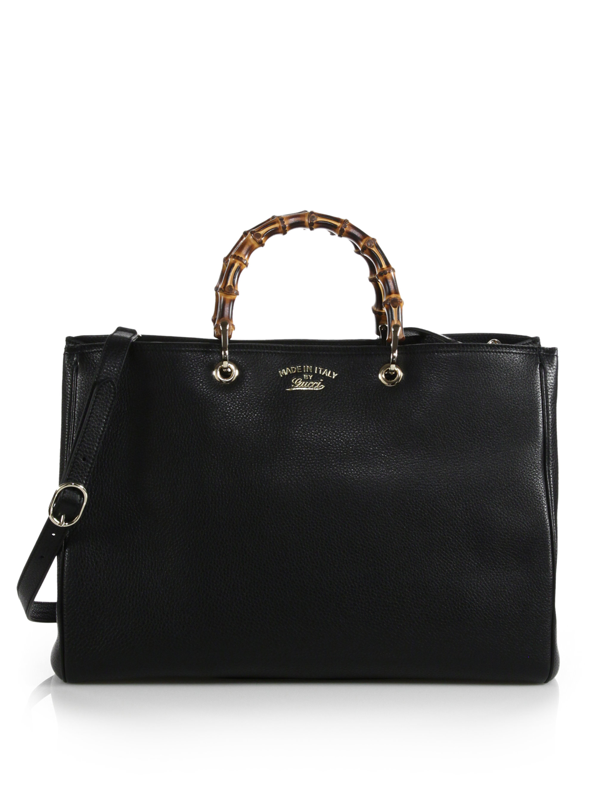 gucci bamboo shopper large leather tote in black lyst. Black Bedroom Furniture Sets. Home Design Ideas