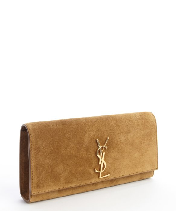 Saint laurent Tan Suede Ysl Logo Oversized Clutch in Brown (tan ...