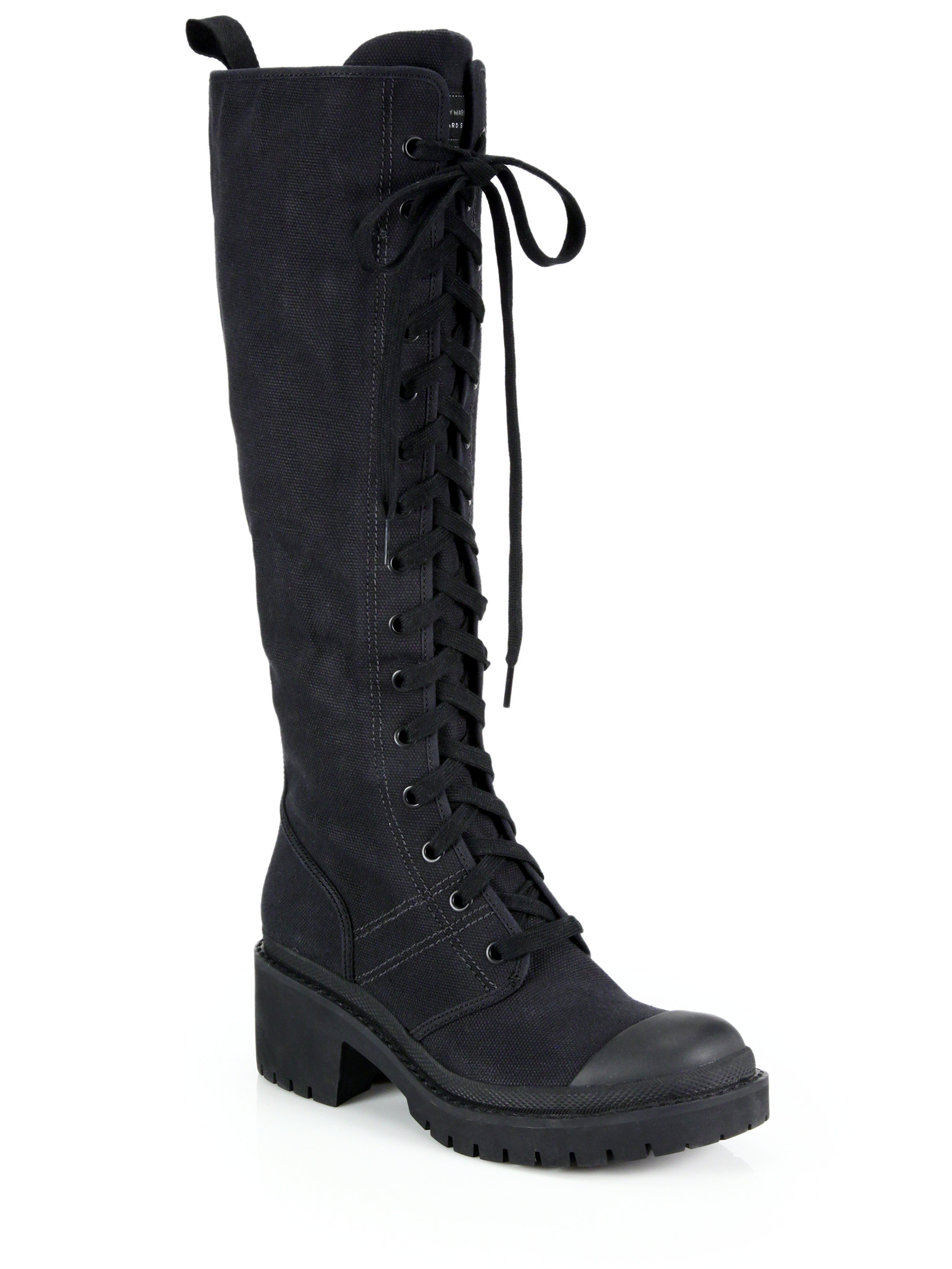 marc by marc army knee high lace up boots in black