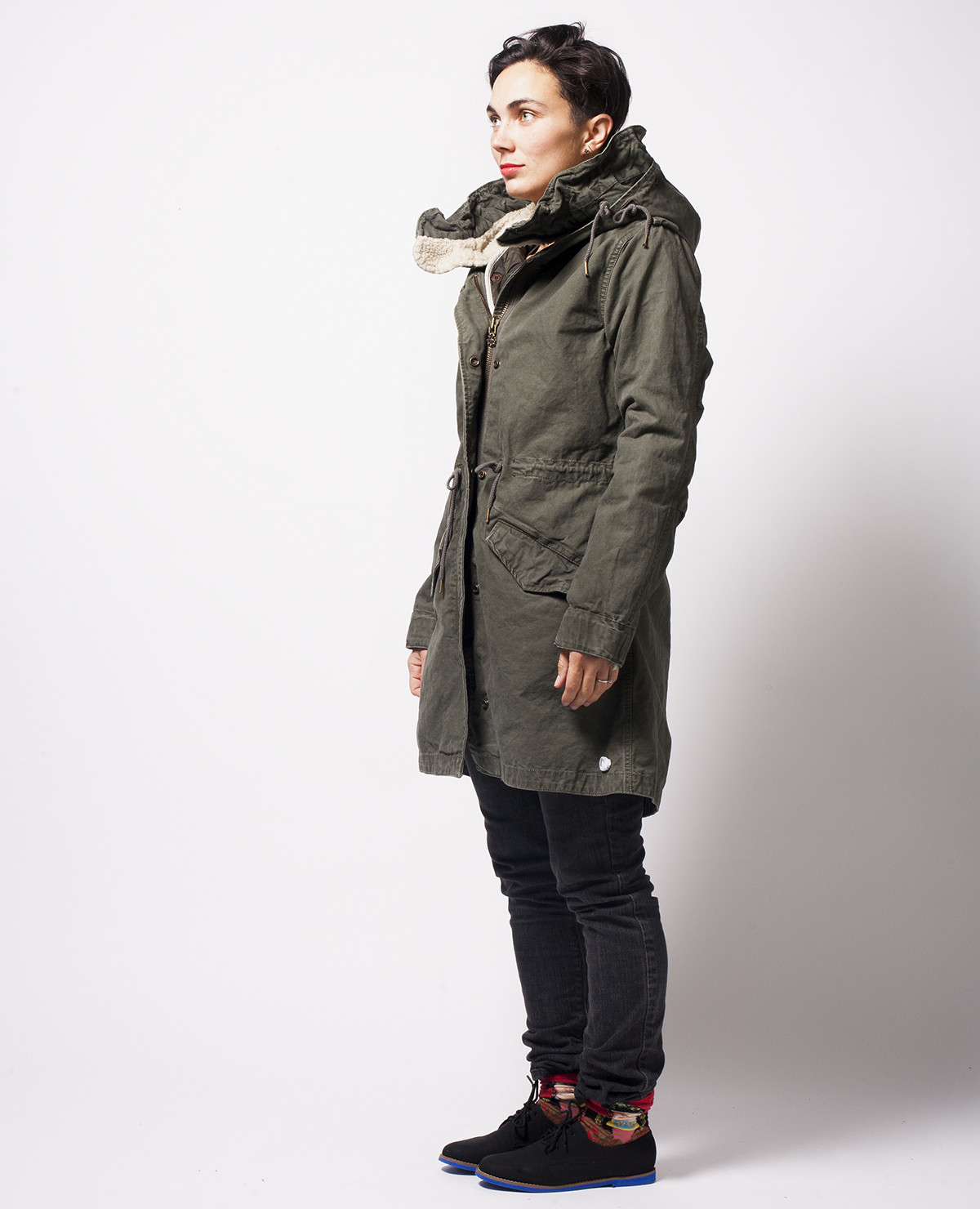 scotch soda grey parka with sheep hood in green for men. Black Bedroom Furniture Sets. Home Design Ideas