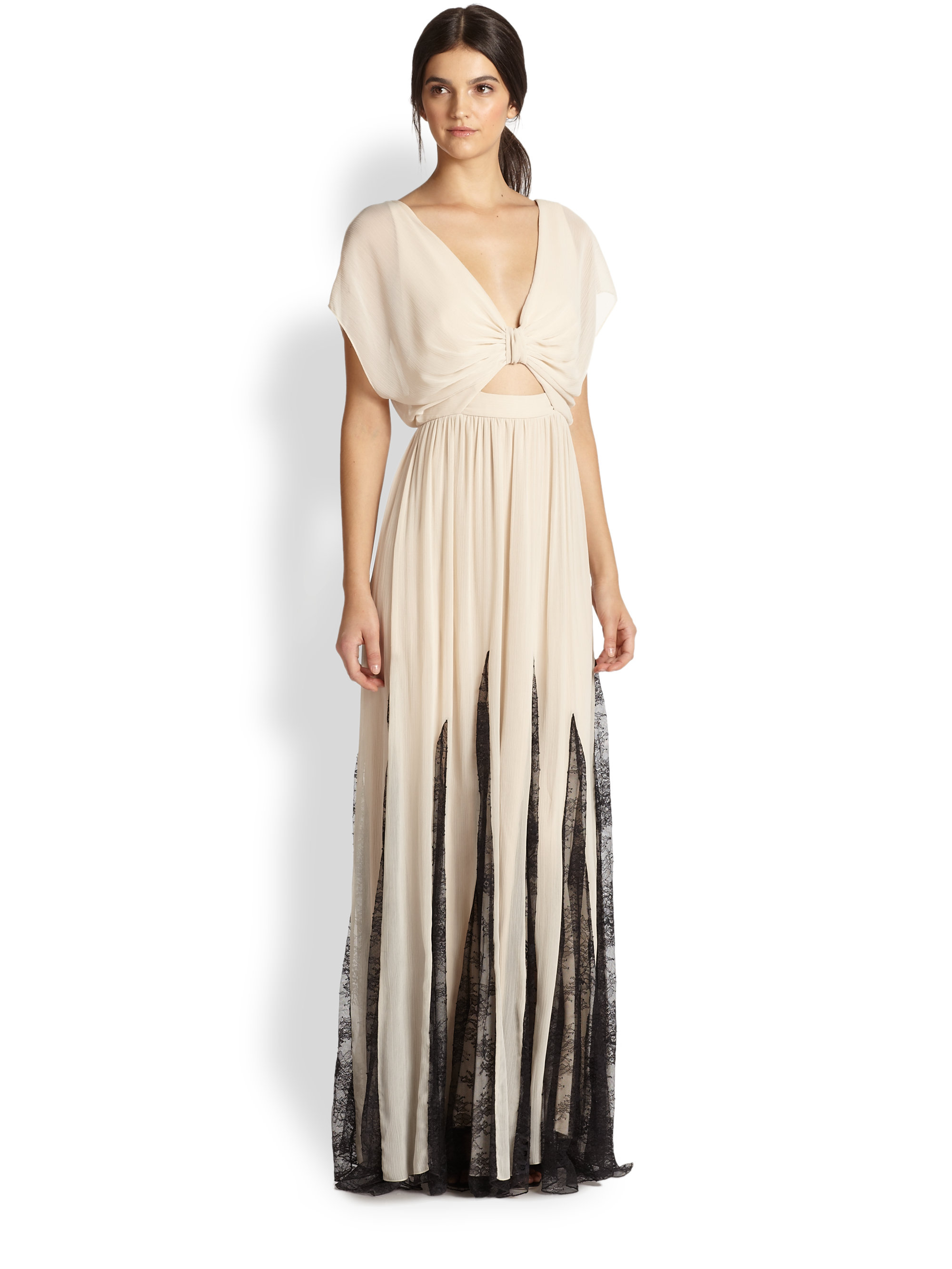 Lyst - Alice + Olivia Ginevia Bow Front Pleated Maxi Dress in Natural bbfc24dc4