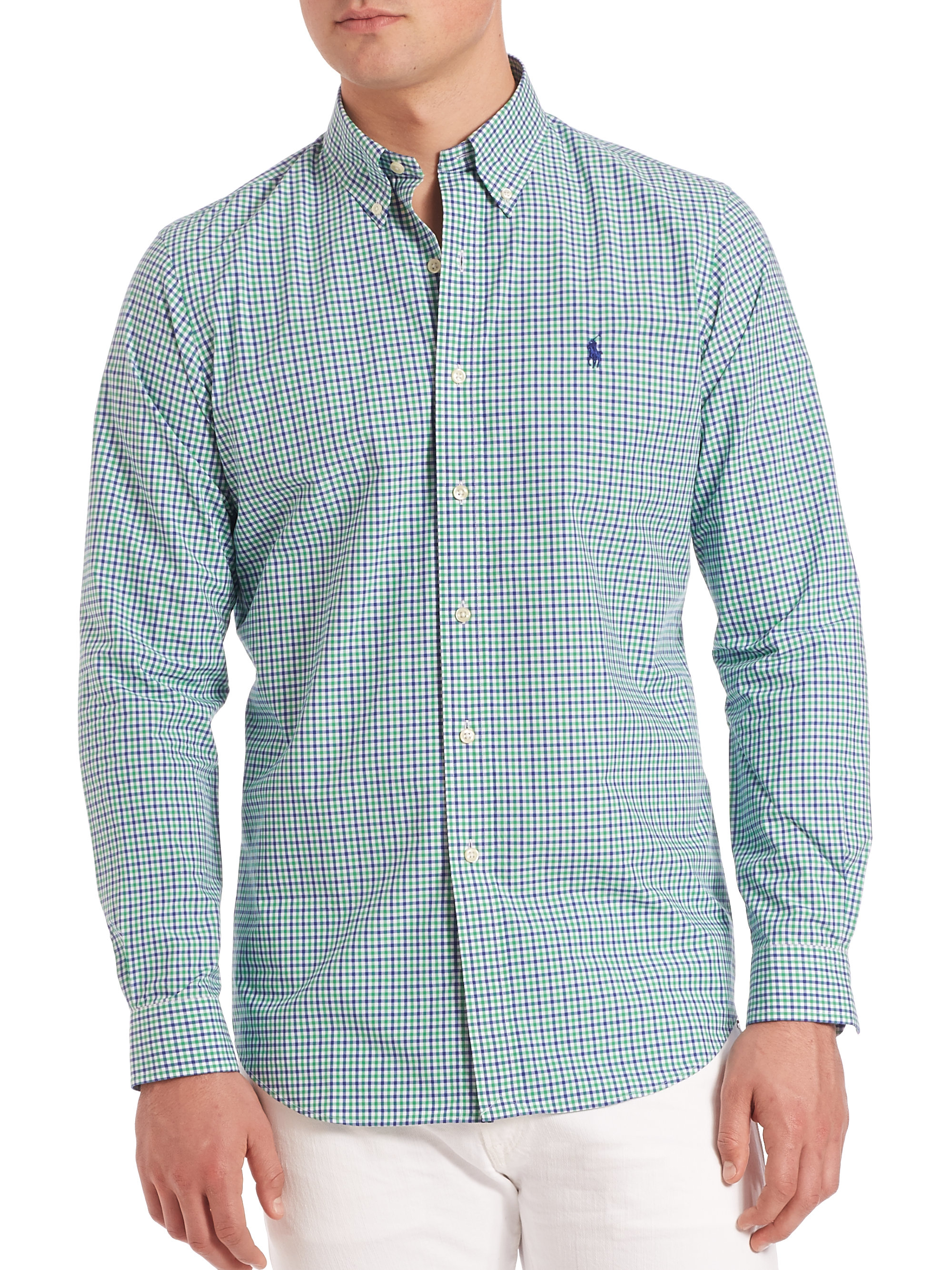 548bf959876 Lyst - Polo Ralph Lauren Slim-fit Checked Oxford Shirt in Blue for Men