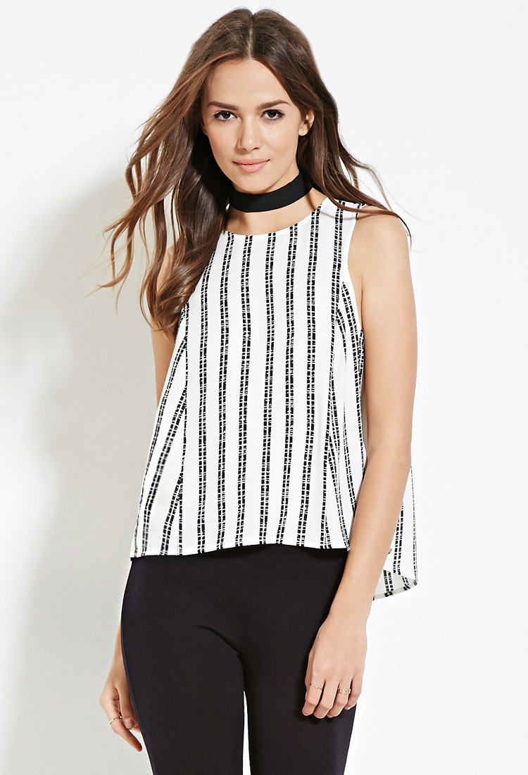 Love 21 Contemporary Striped Split Back Top In White
