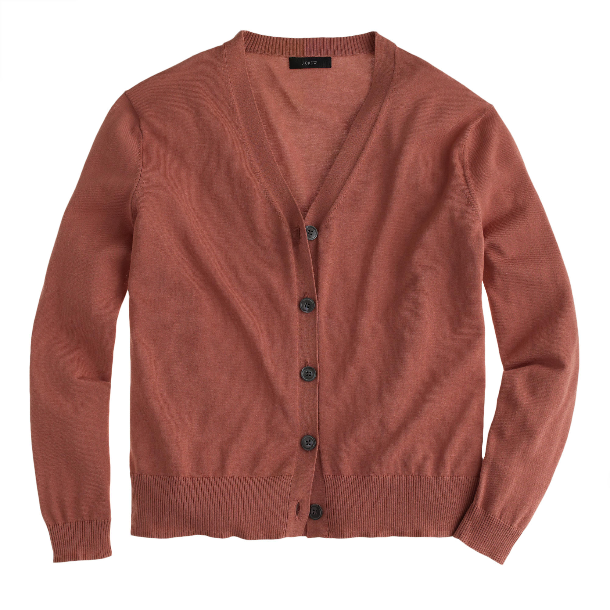 J.crew Petite Summerweight Cotton V-neck Cardigan Sweater in Brown ...