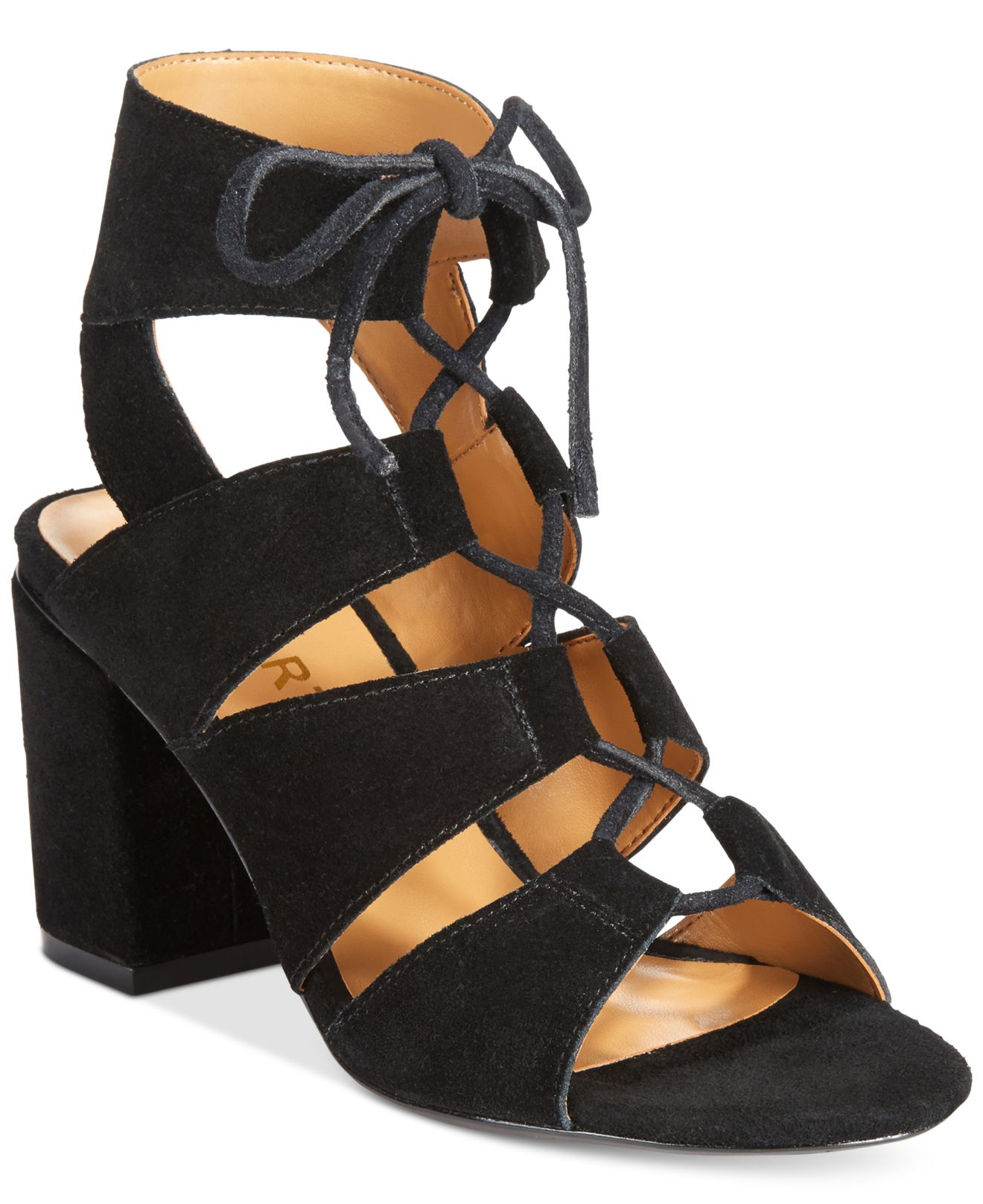 Black Block Heel Gladiator Sandals | Tsaa Heel