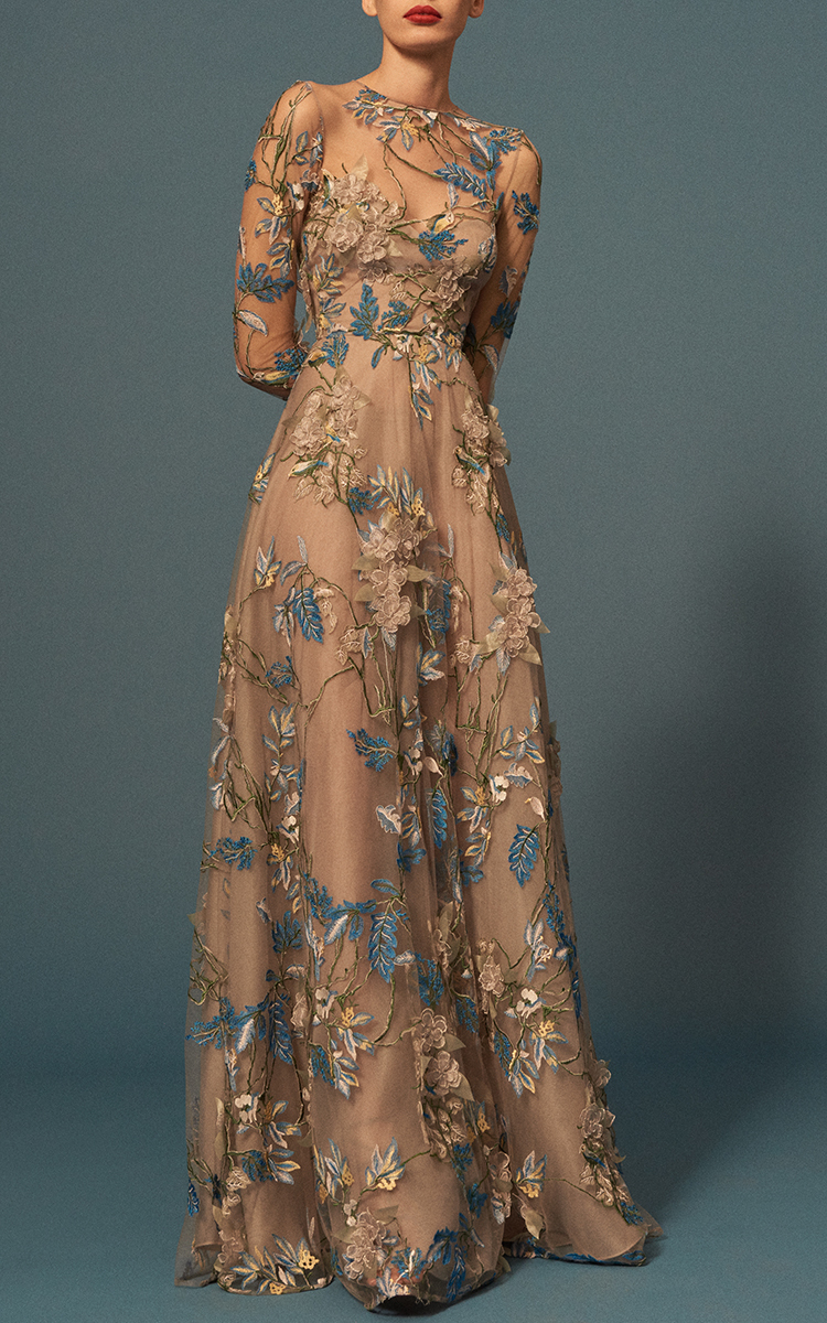 f350727a452e Lyst - Naeem Khan Floral Embellished Long Sleeve Illusion Ball Gown ...