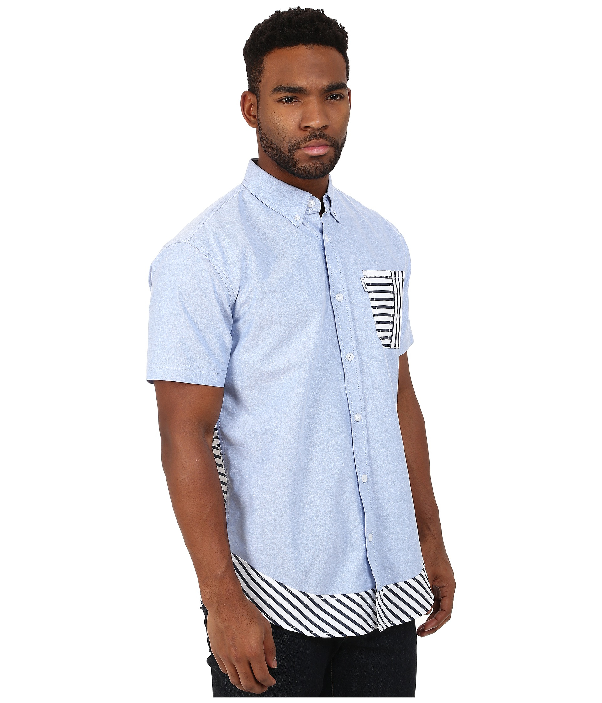 staple beta sleeve striped woven in blue for lyst
