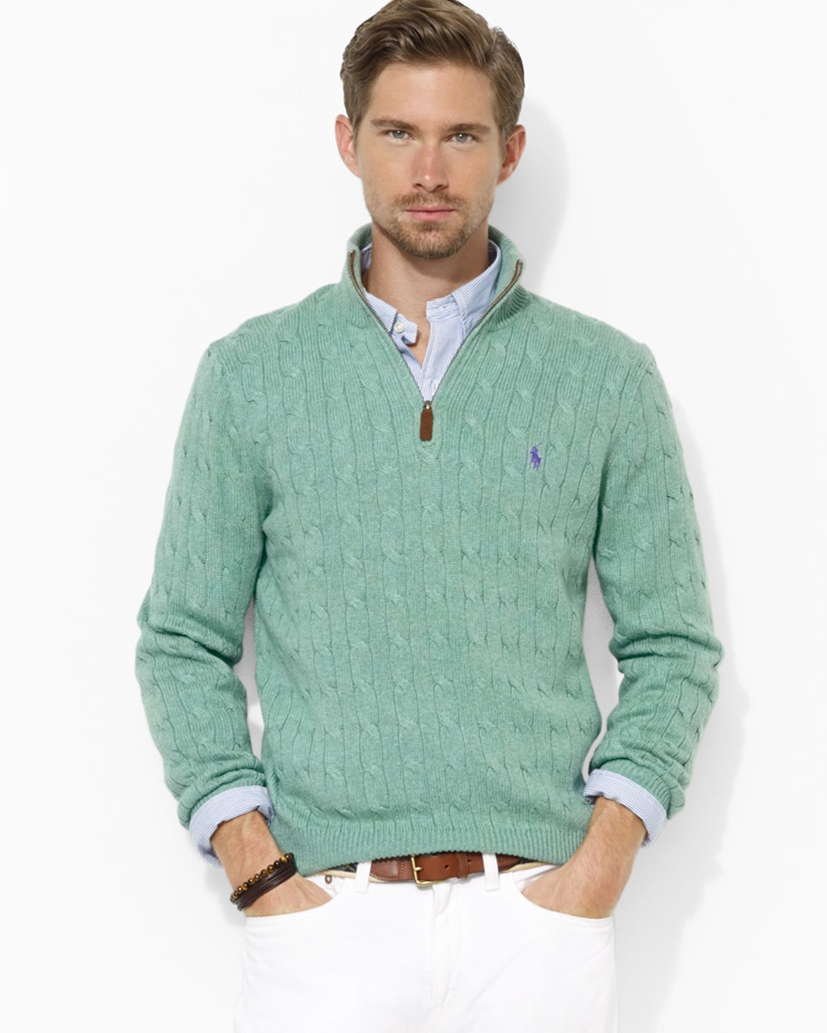 Ralph Lauren Polo Halfzip Cableknit Tussah Silk Sweater In