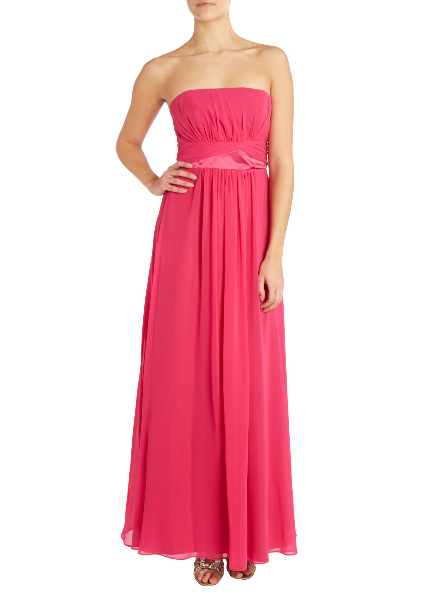 Ariella Bridesmaid Strapless Chiffon Dress in Pink Hot