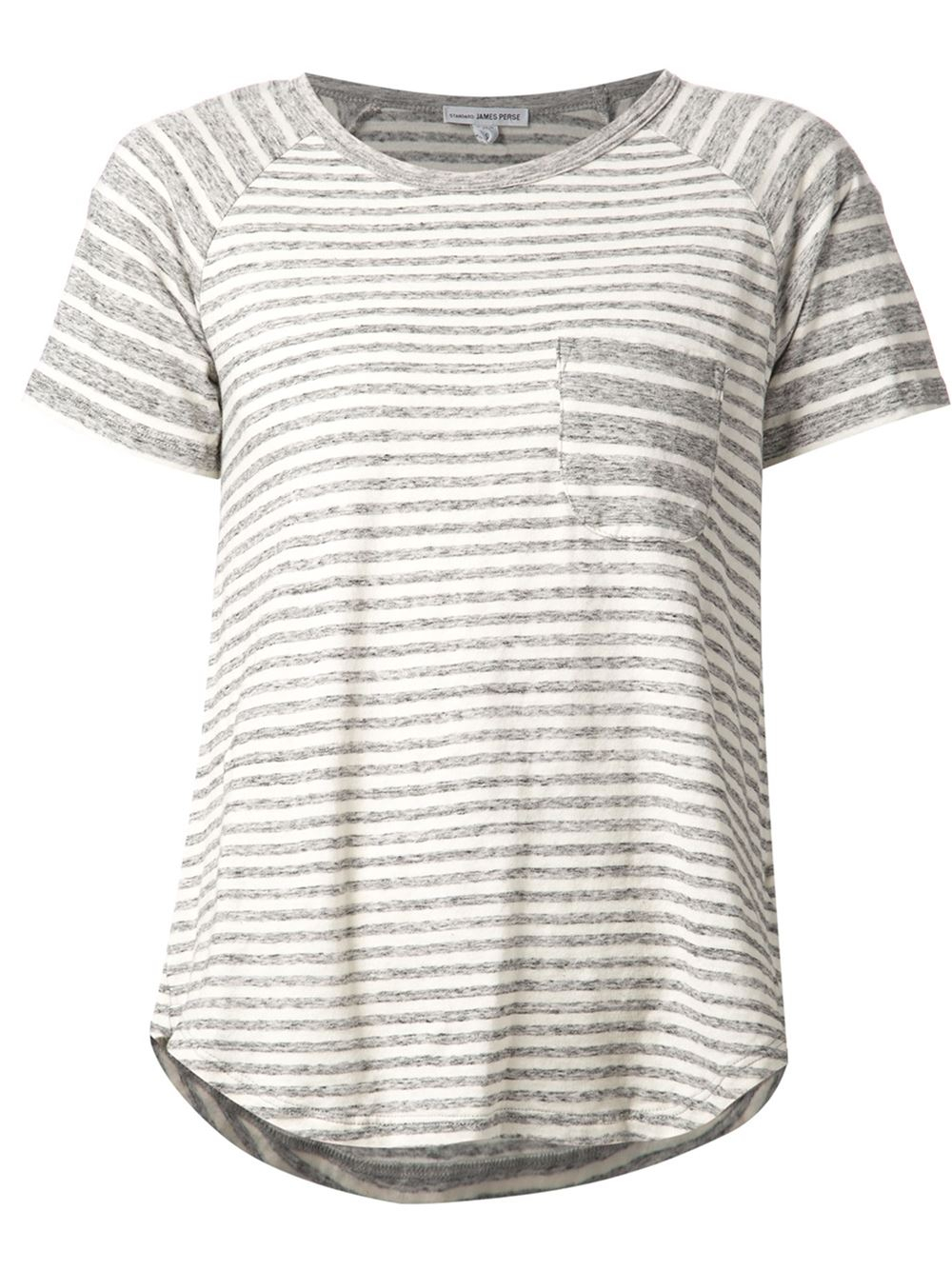 James perse striped raglan t shirt in gray grey lyst for Grey striped t shirt