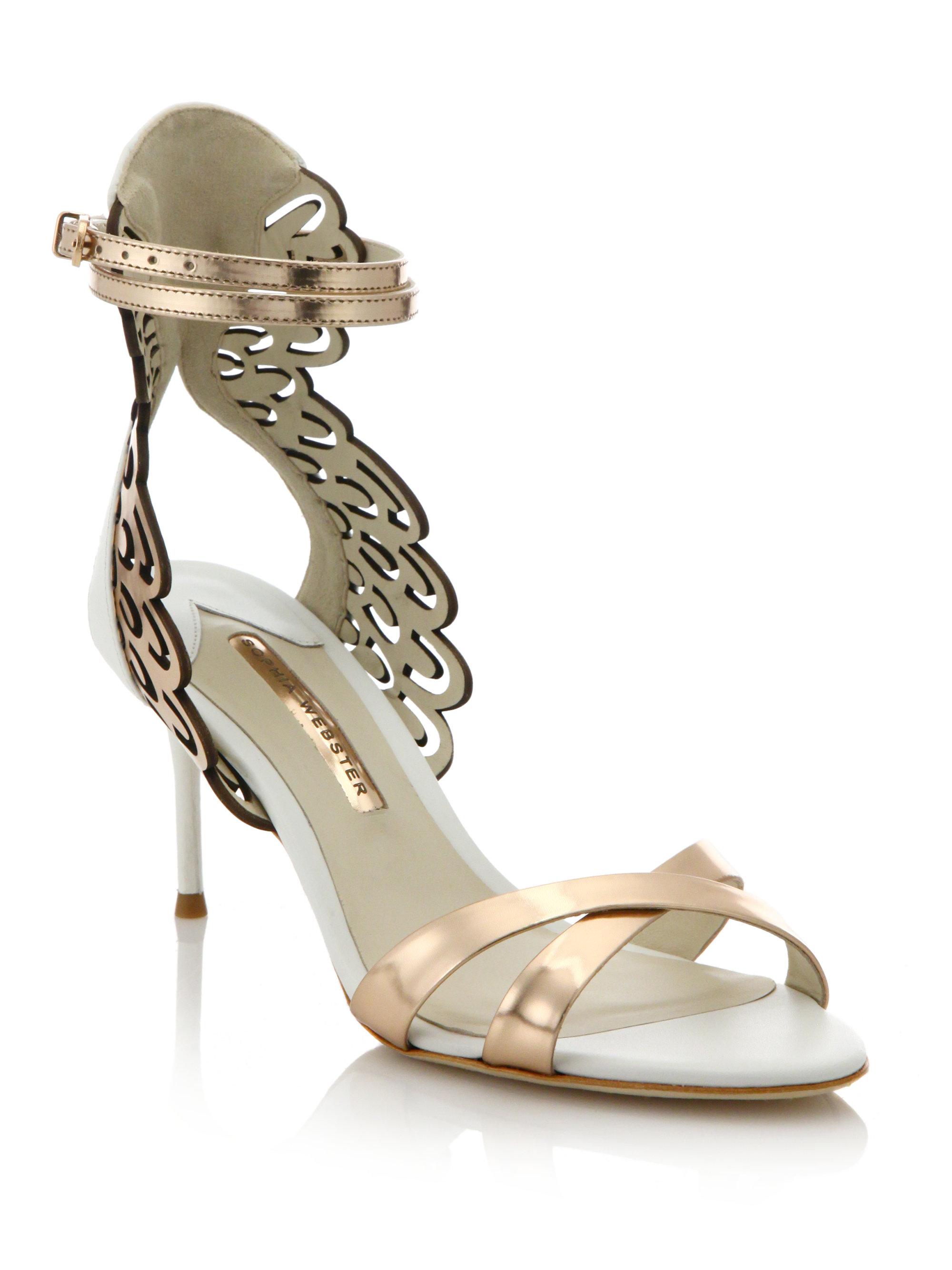 7c0dcd2dcbd Lyst - Sophia Webster Micah Angel Wing Metallic Leather Sandals in ...