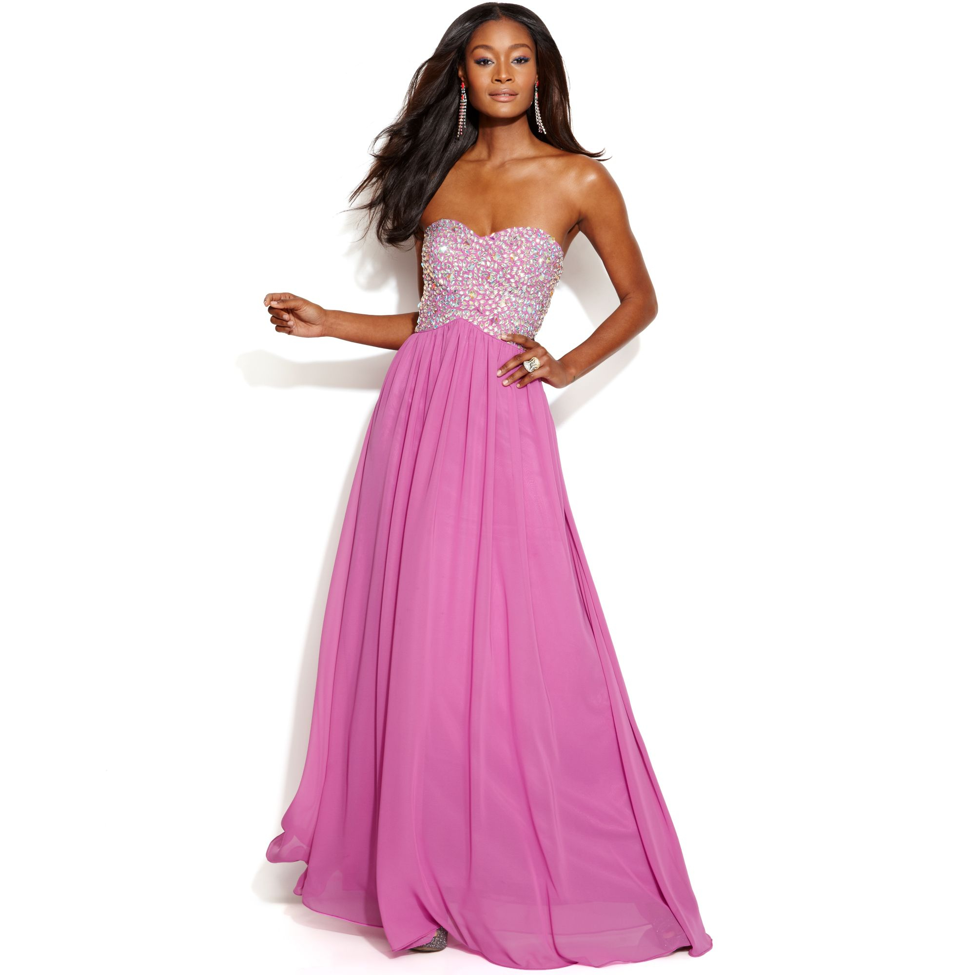 Embellished Bodice Strapless Wedding Gown: Xscape Strapless Embellished Bodice Cutout Gown In