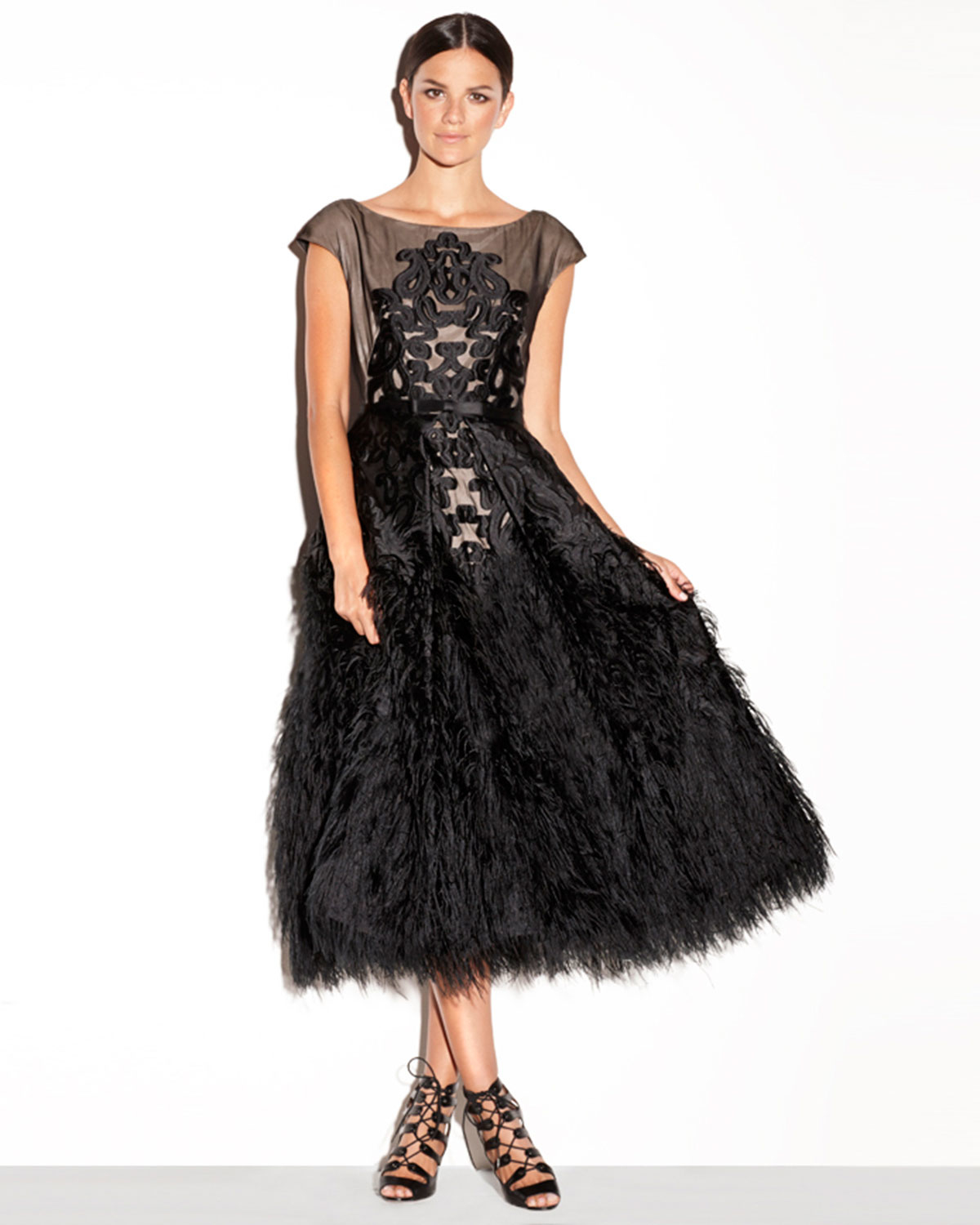 Lyst Milly Embroidered Tea Length Feather Dress In Black