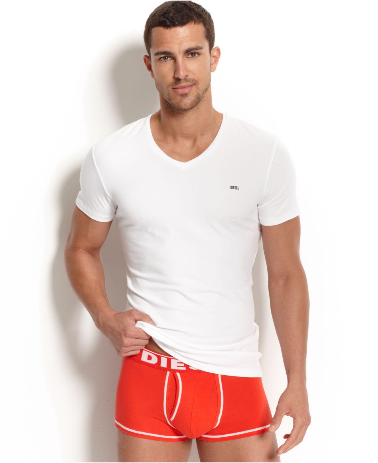 Lyst diesel michael v neck t shirt in white for men for Mens diesel v neck t shirts