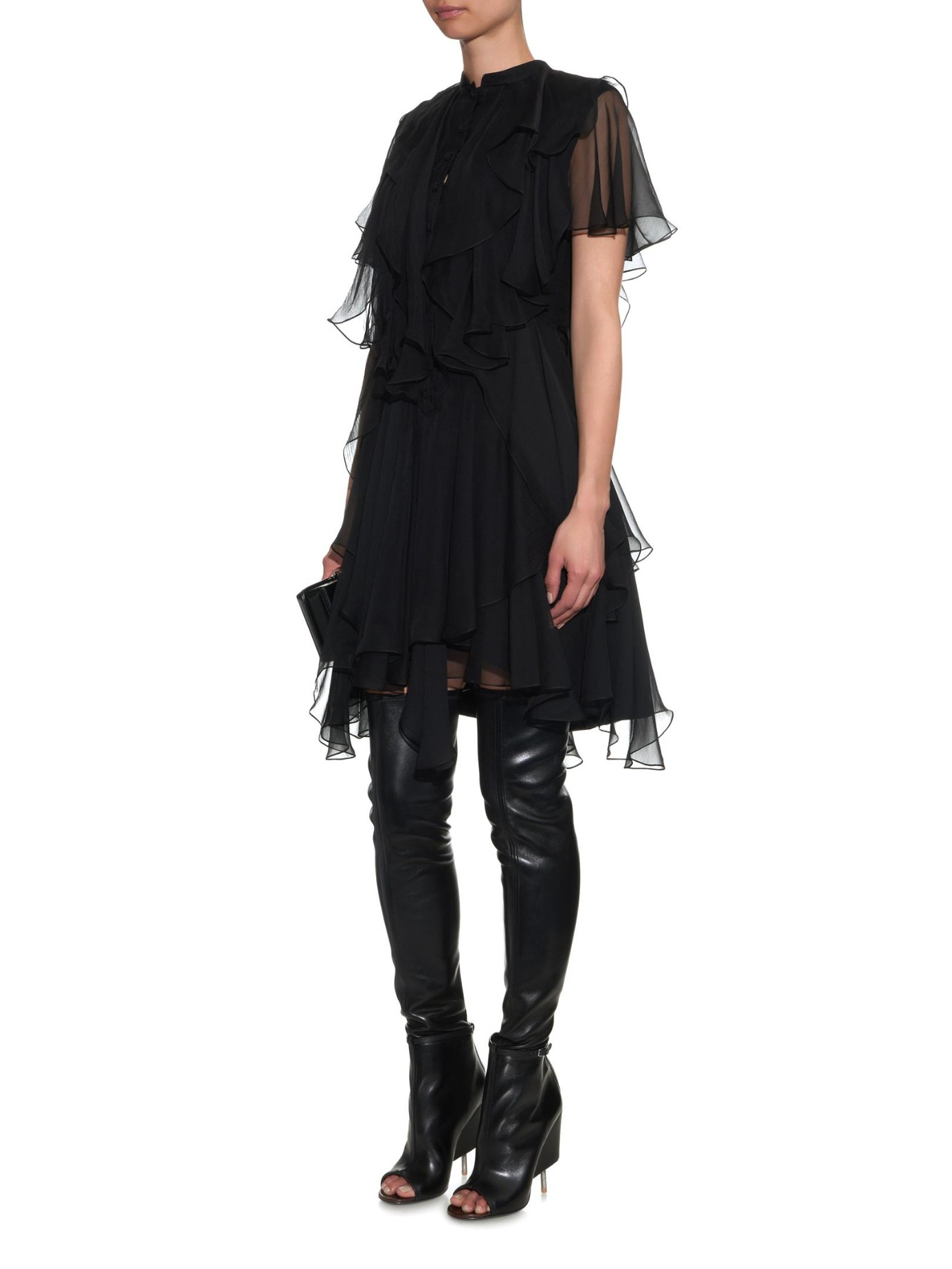 Lyst - Givenchy Narlia Peep-Toe Over-The-Knee Boots in Black b2be82265