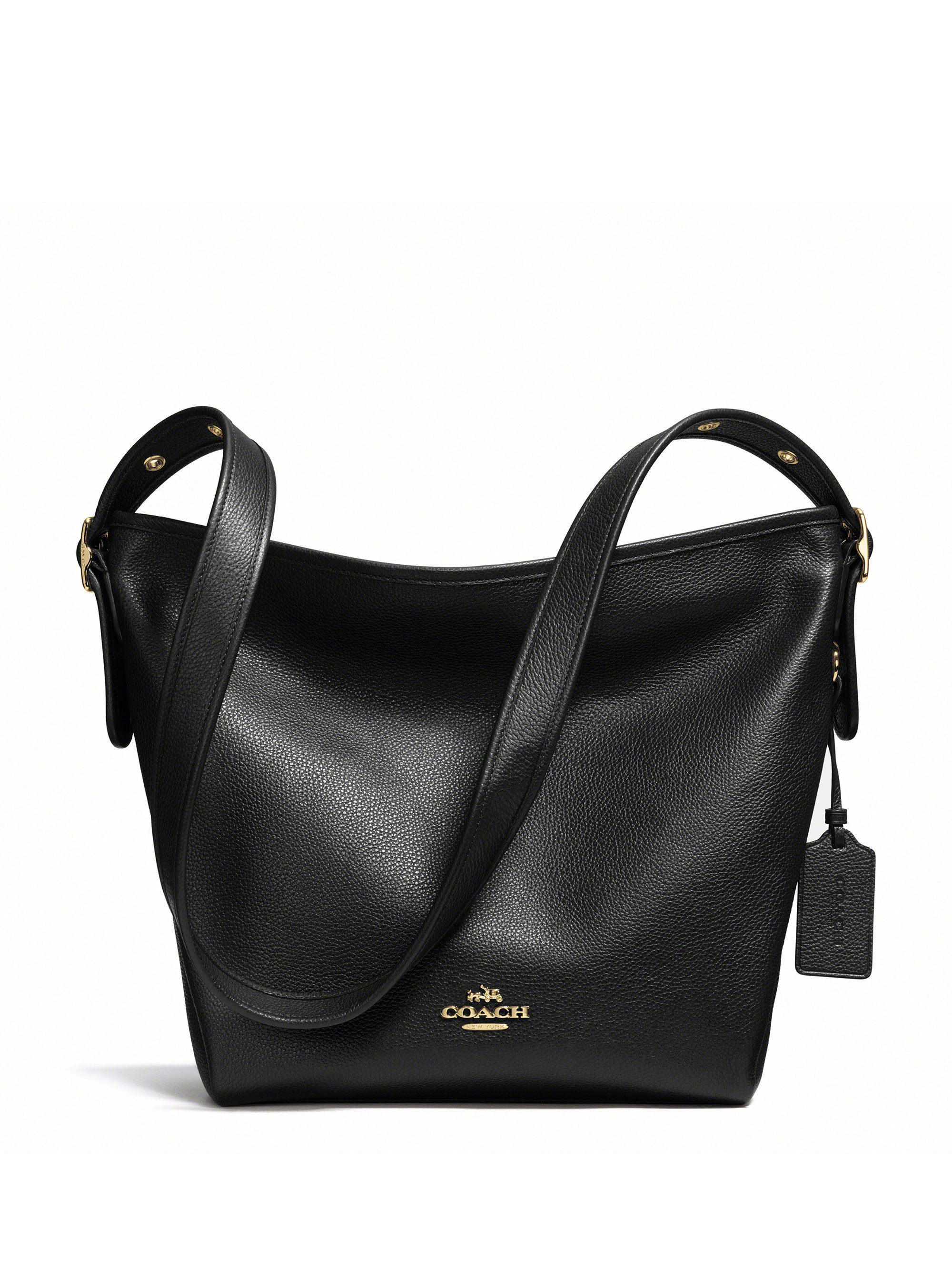 coach dufflette leather shoulder bag in black lyst