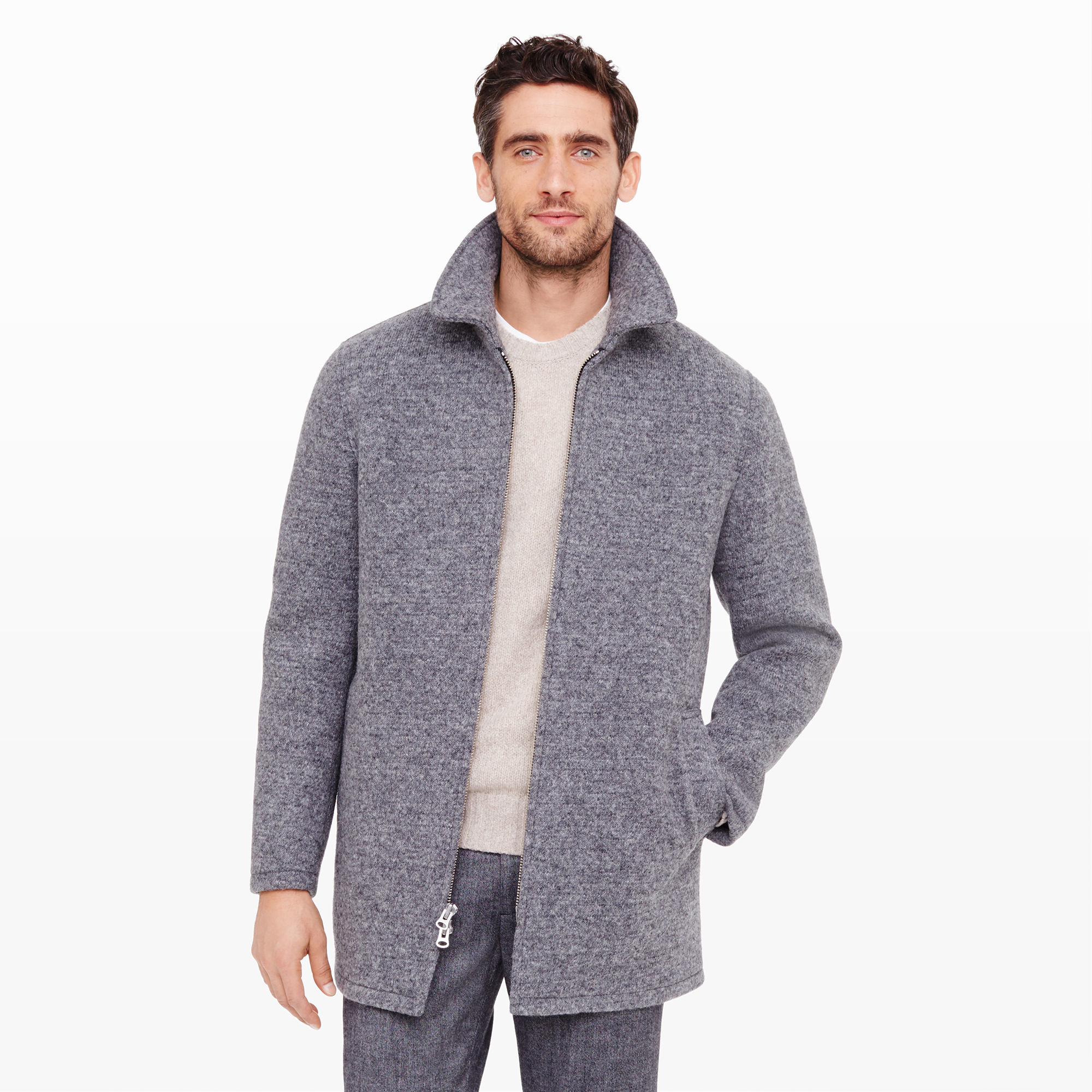 Club monaco Donegal Car Coat in Gray for Men | Lyst