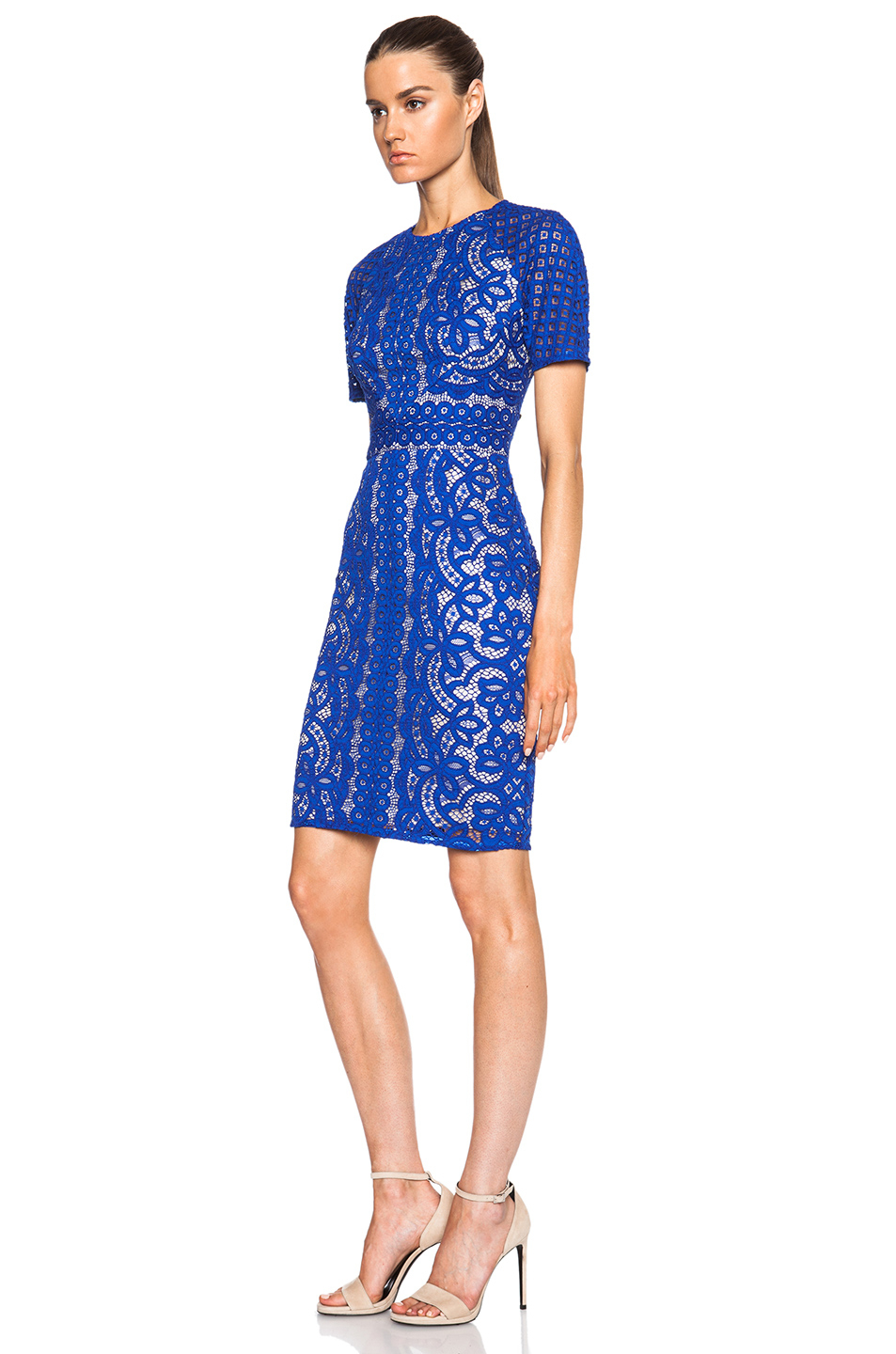 Lover Poppy Fitted Dress in Blue | Lyst