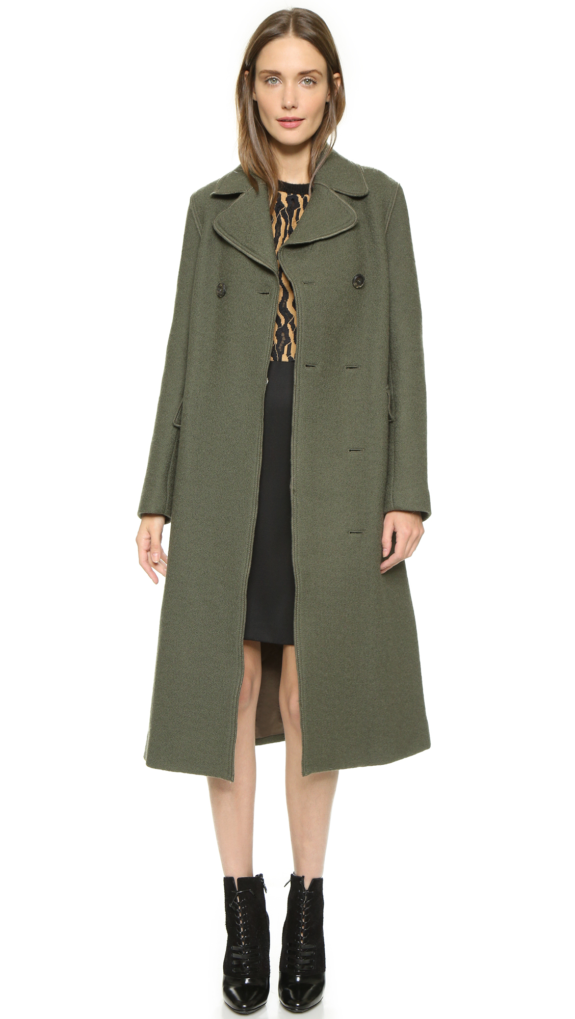 3.1 phillip lim Long Two Button Car Coat - Army in Green | Lyst