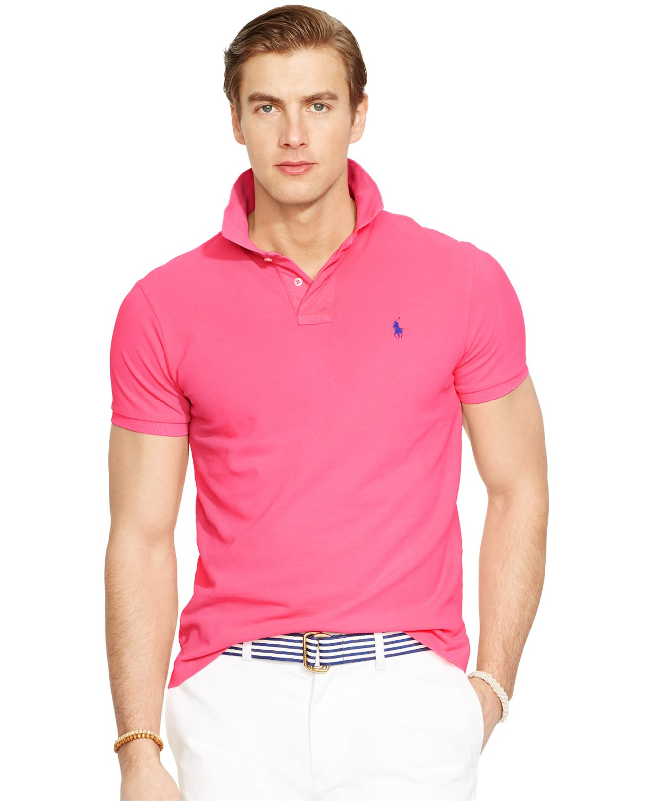 Lyst polo ralph lauren custom fit neon mesh polo shirt for Ralph lauren custom fit mesh polo shirt