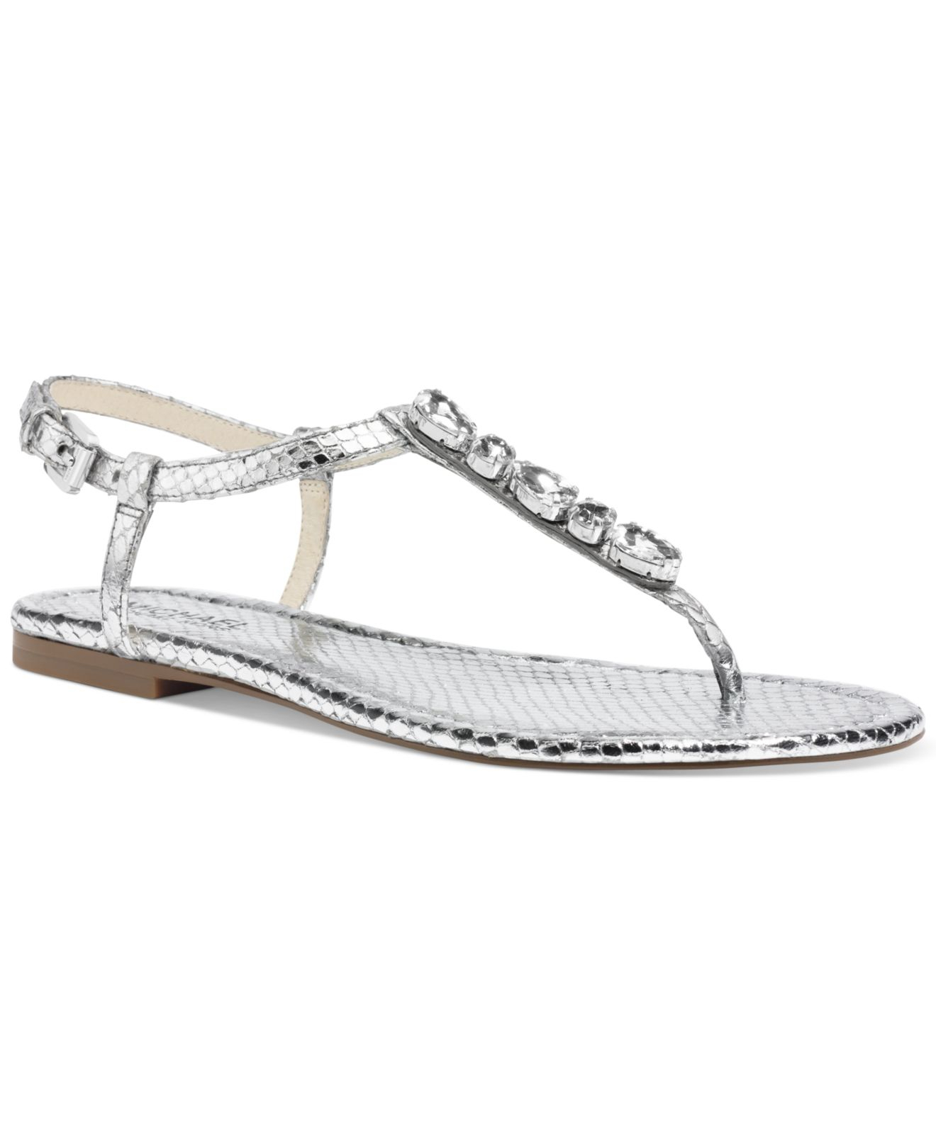 a592a1236ce Lyst - Michael Kors Michael Jayden Jeweled Flat Thong Sandals in ...