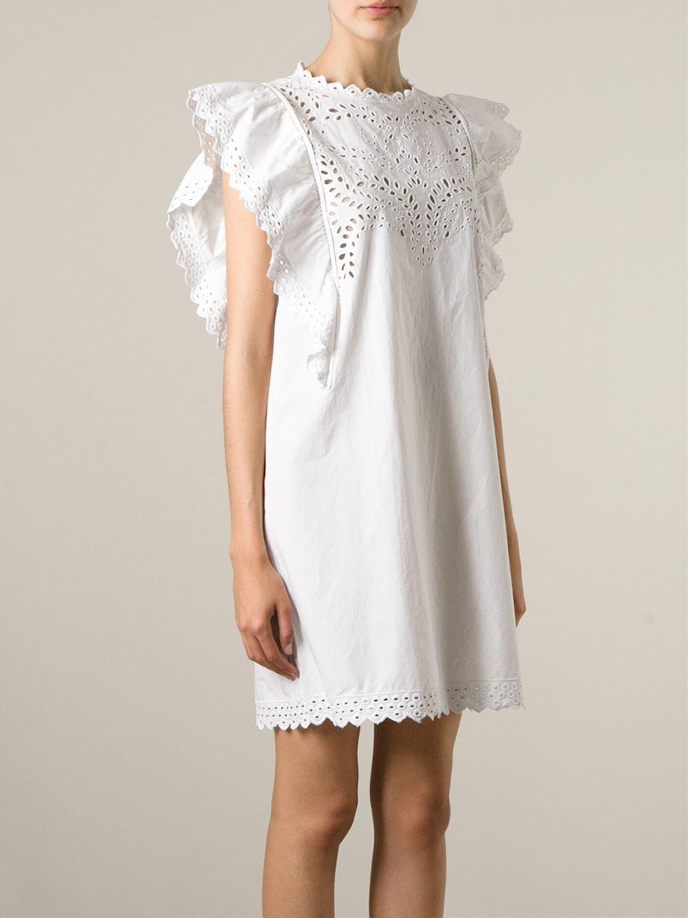 lyst toile isabel marant 39 scarla 39 dress in white. Black Bedroom Furniture Sets. Home Design Ideas