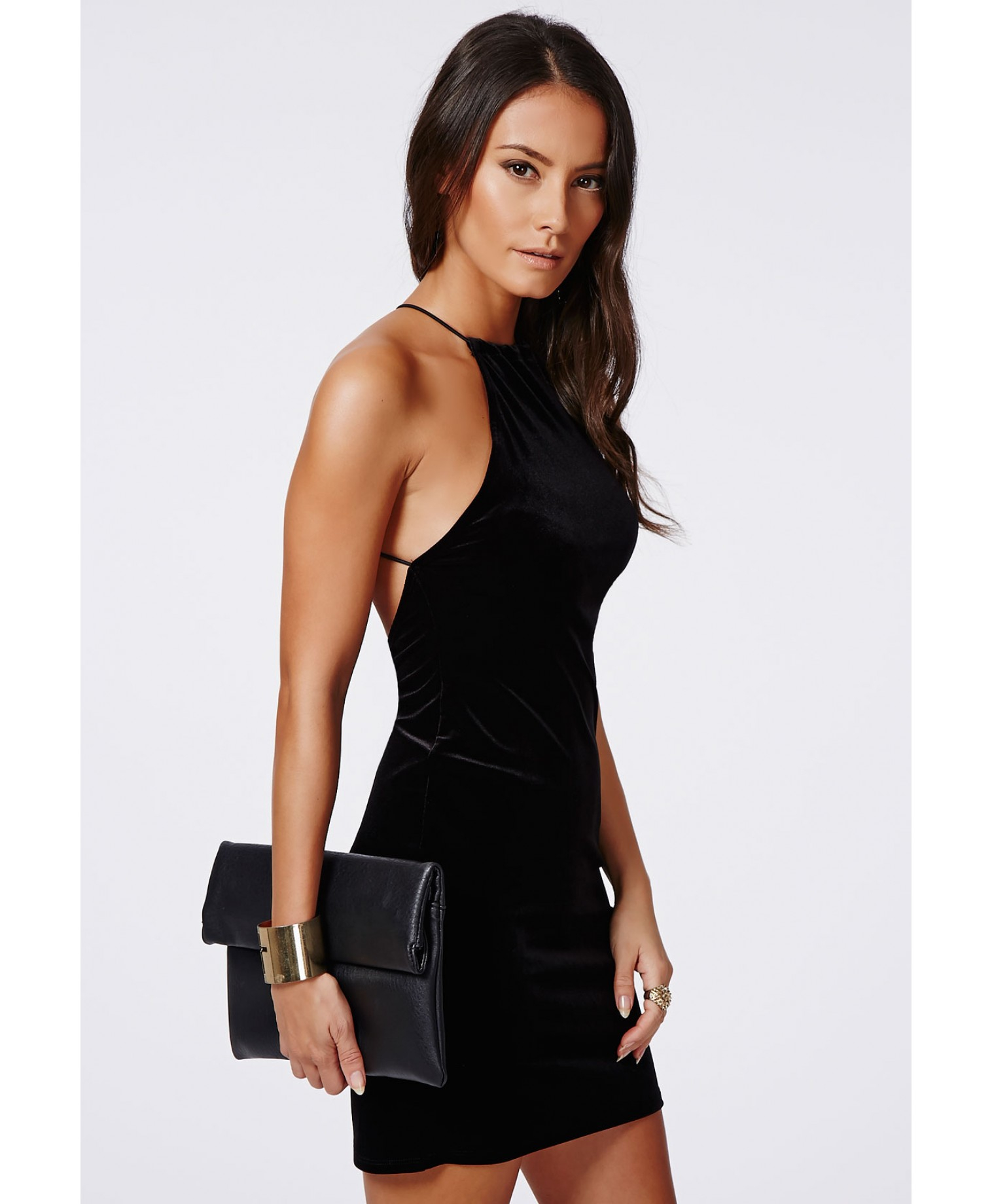 Missguided Masumi Velvet Strappy Bodycon Dress Black in Black | Lyst
