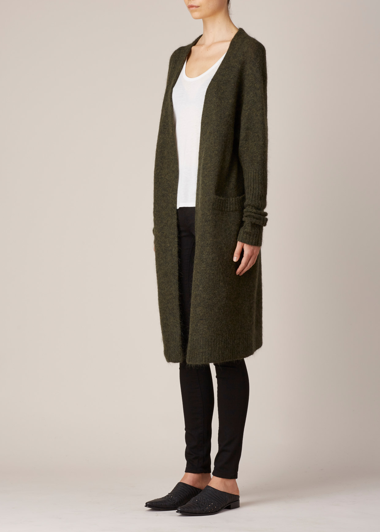 Acne studios Military Green Raya Mohair Long Cardigan in Green | Lyst