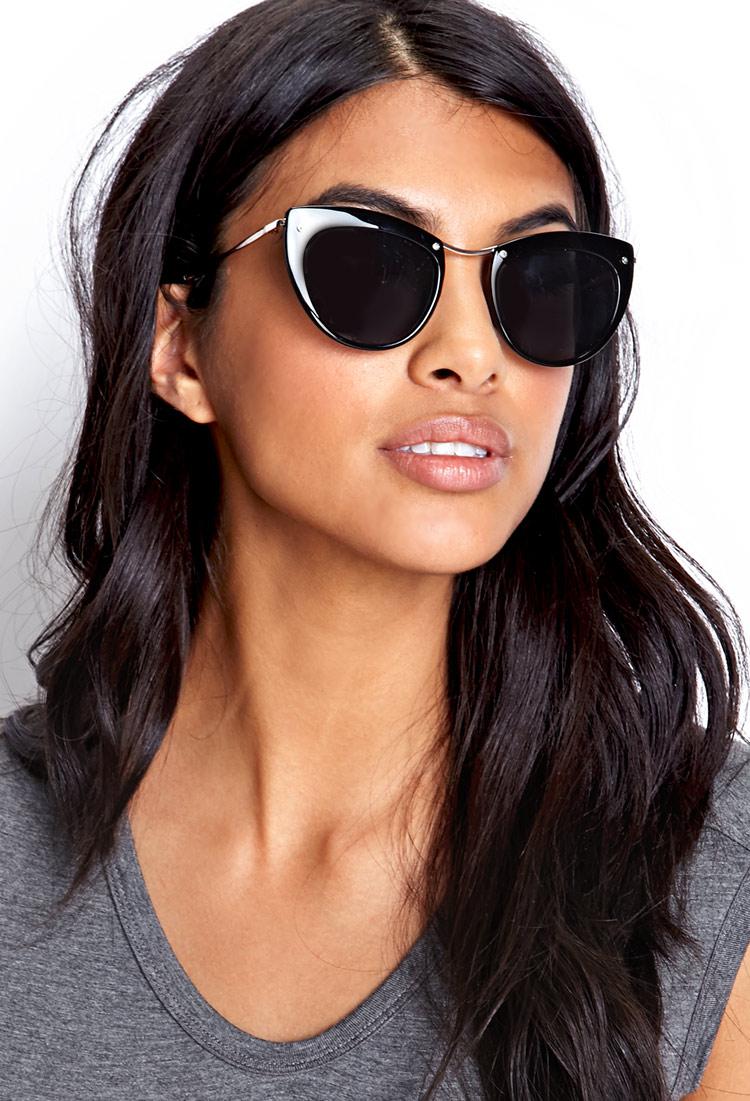 4e17be4f803 Lyst - Forever 21 Mod Cat-Eye Sunglasses in Metallic