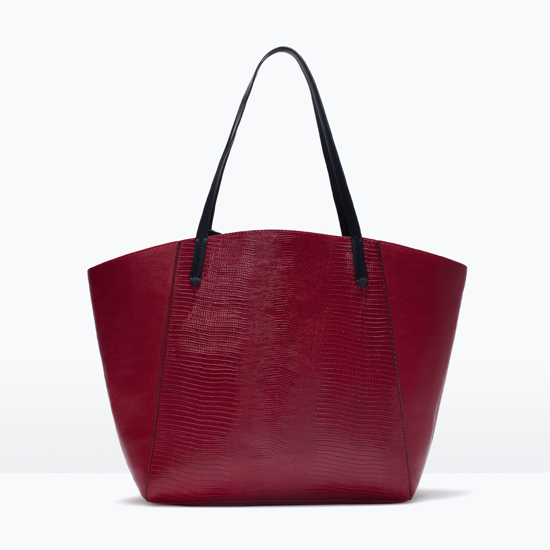 Zara Combined Shopper Bag in Red | Lyst