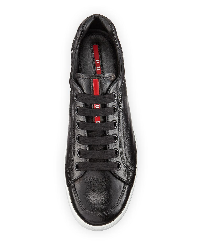 9db1095cbb6fb9 ... discount code for lyst prada avenue mens leather low top sneaker in  black for men 8f0de
