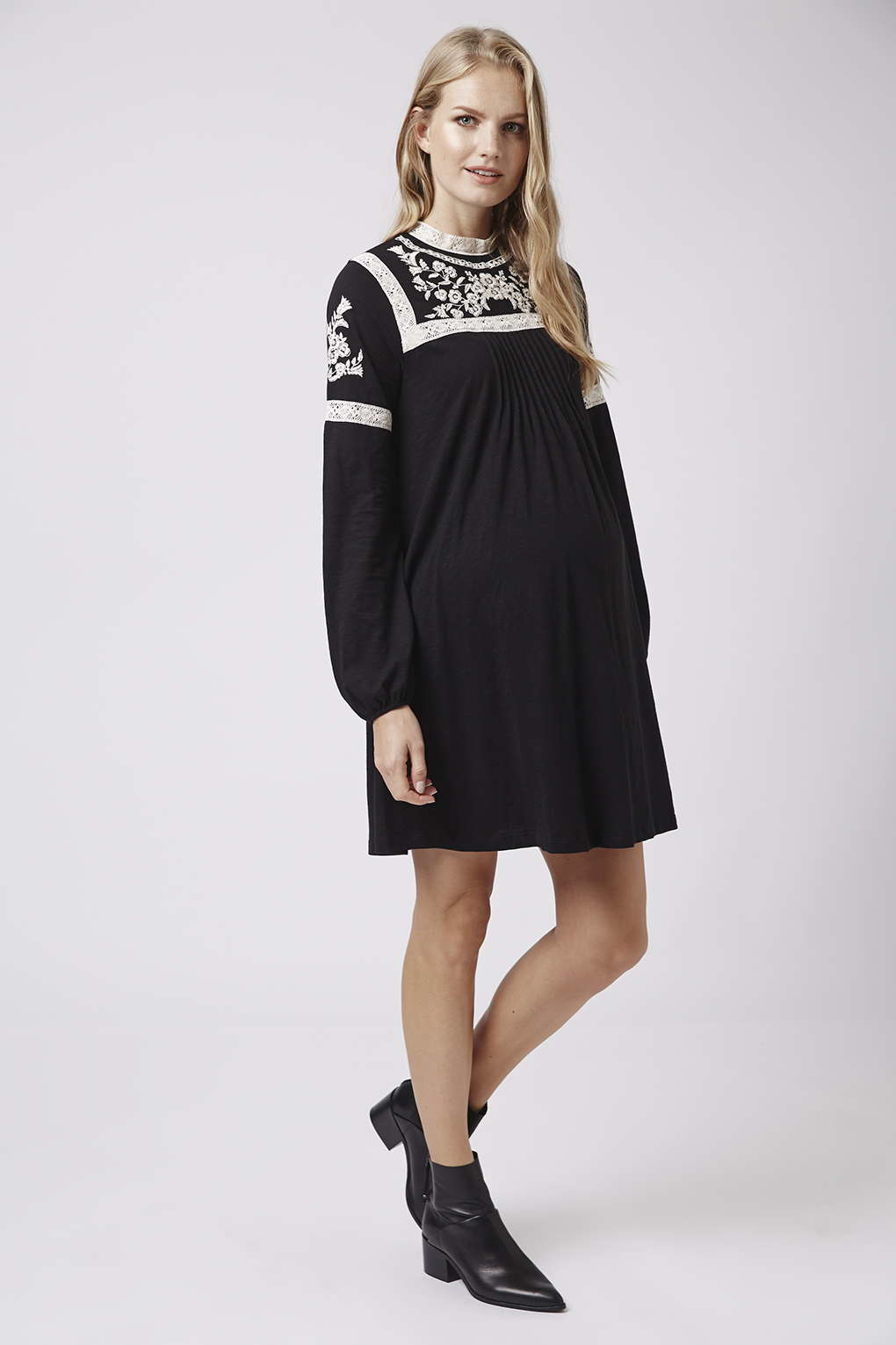 Topshop maternity embroidered dress in black lyst gallery ombrellifo Gallery