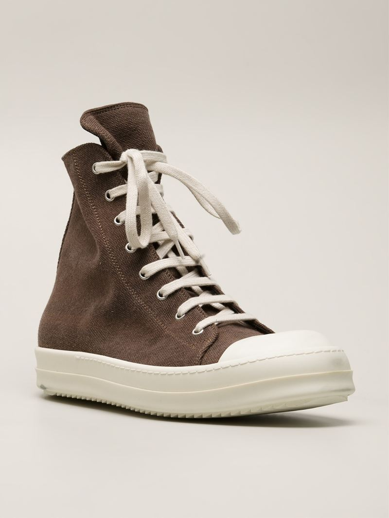 755a42ae92b0 Lyst - DRKSHDW by Rick Owens  Ramones  High Top Trainers in Brown ...