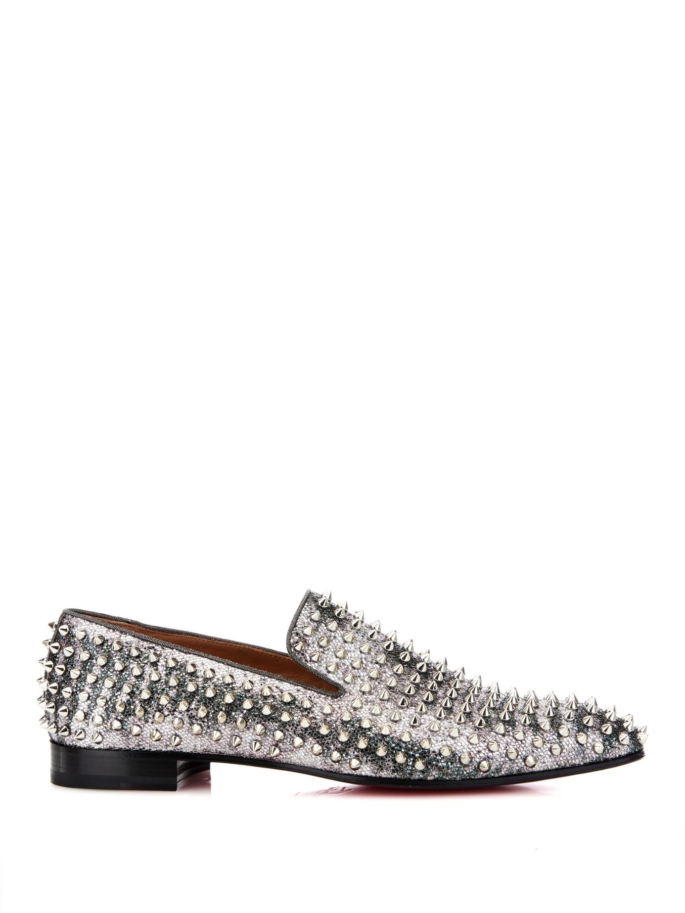 christian louboutin men loafers - Christian louboutin Dandelion Studded Glitter Loafers in Silver ...
