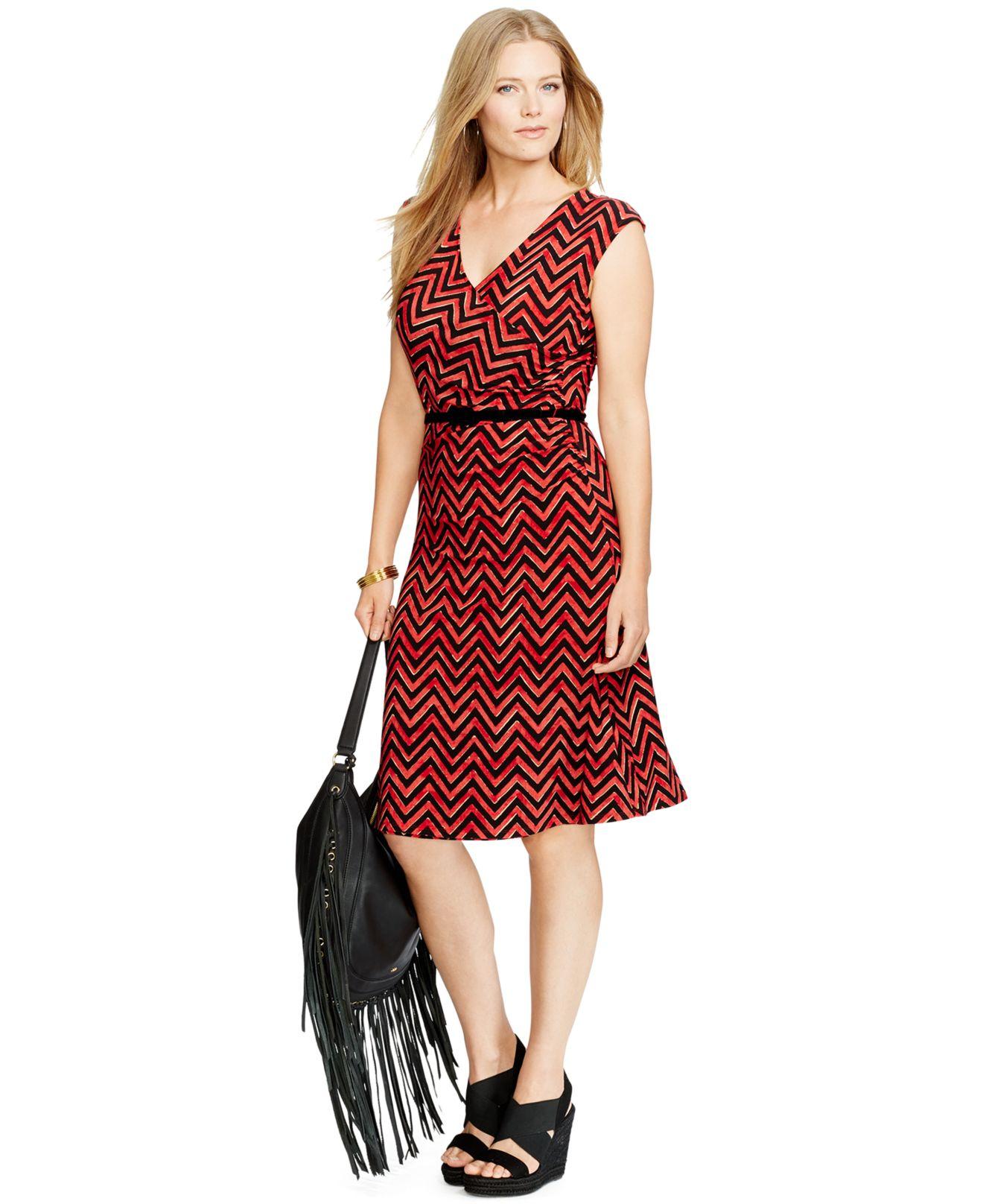 Lyst Lauren By Ralph Lauren Plus Size Belted Chevron Dress