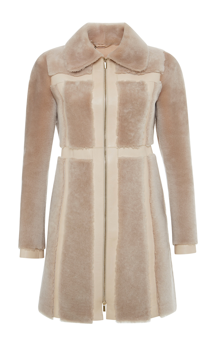 Blumarine Lamb Shearling Coat in Natural | Lyst