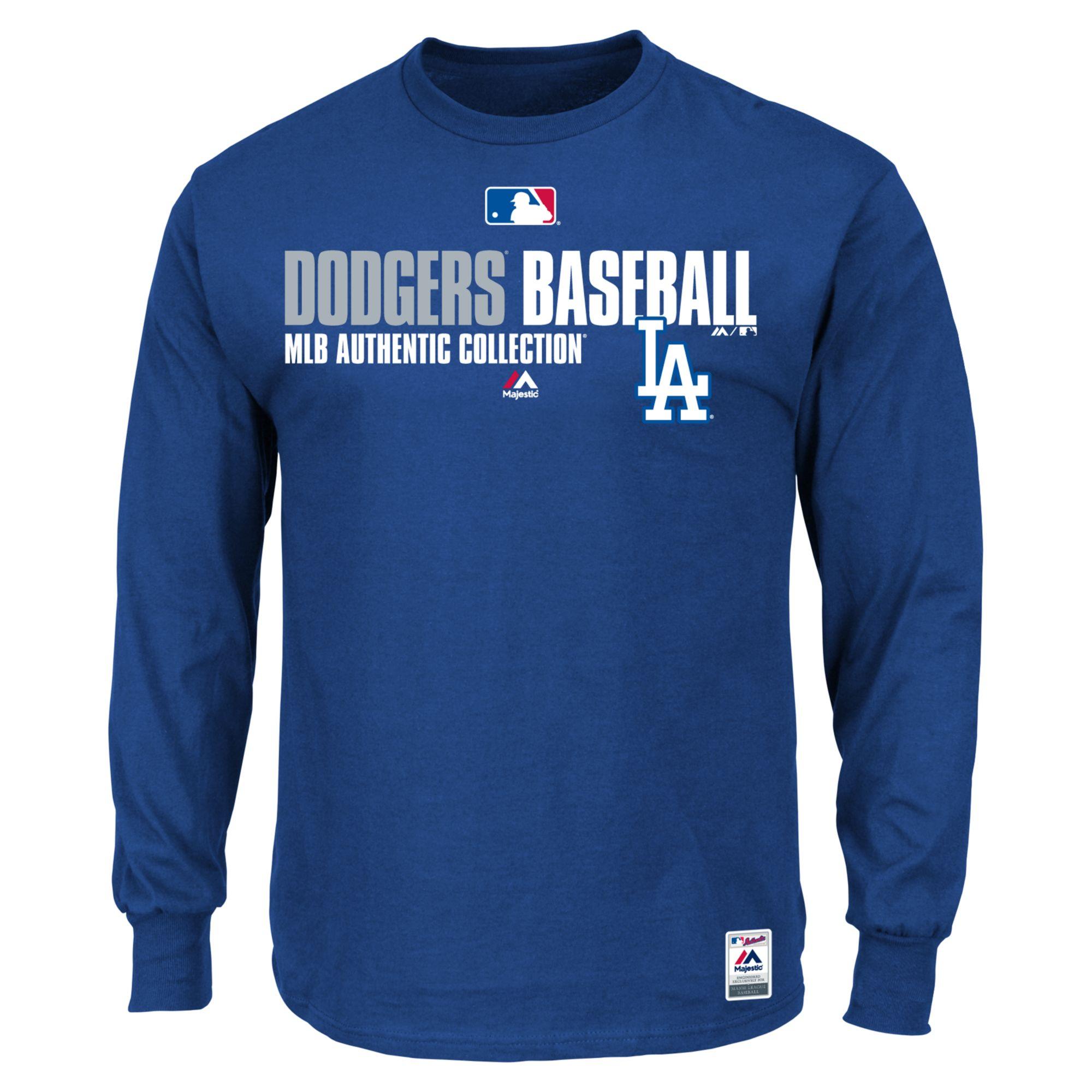Majestic Mens Longsleeve Los Angeles Dodgers Tshirt In