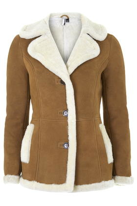 Topshop Real Shearling Mini Car Coat in Brown | Lyst