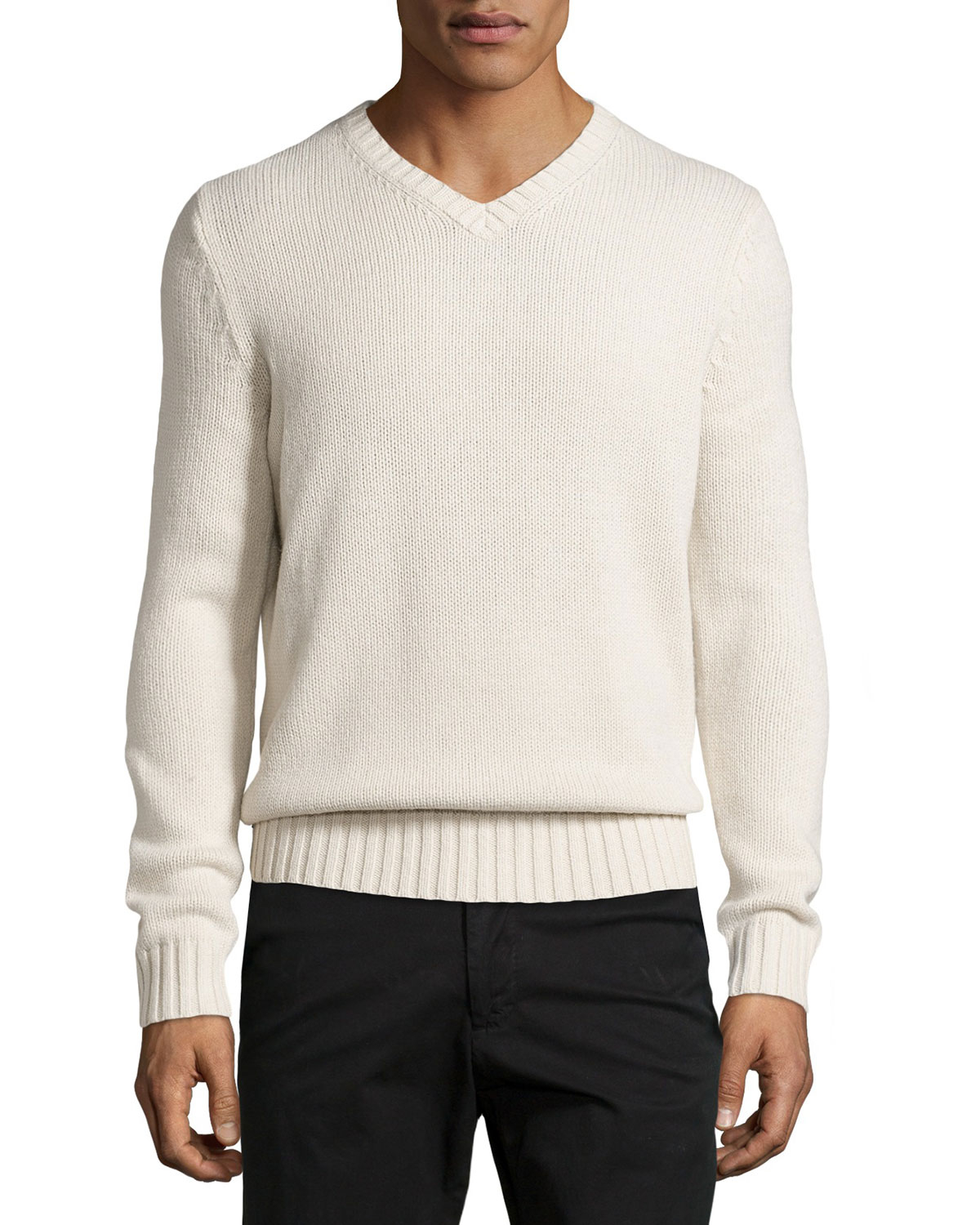 Vince V-neck Ribbed Trim Sweater in White for Men | Lyst