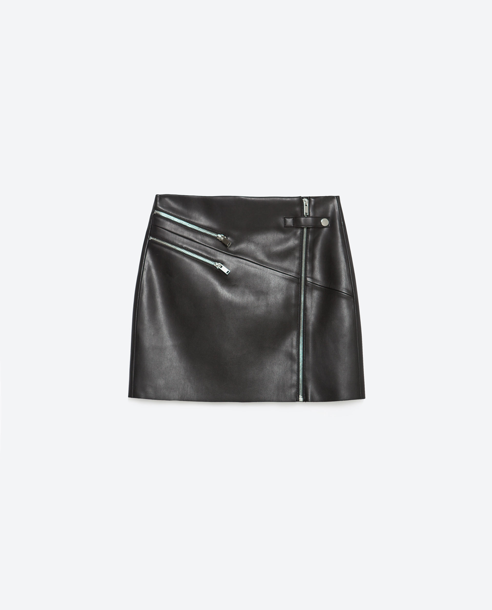zara faux leather skirt with zips in black lyst