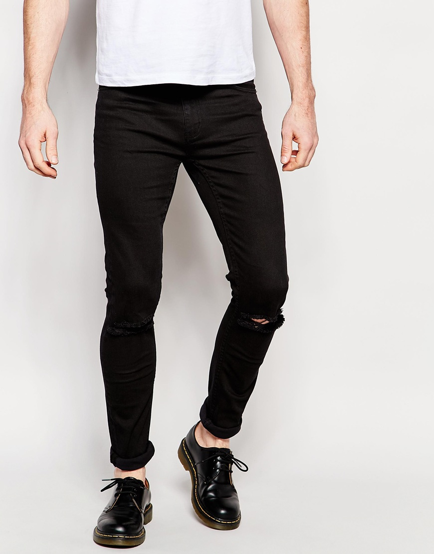 Cheap Black Ripped Skinny Jeans - Jeans Am