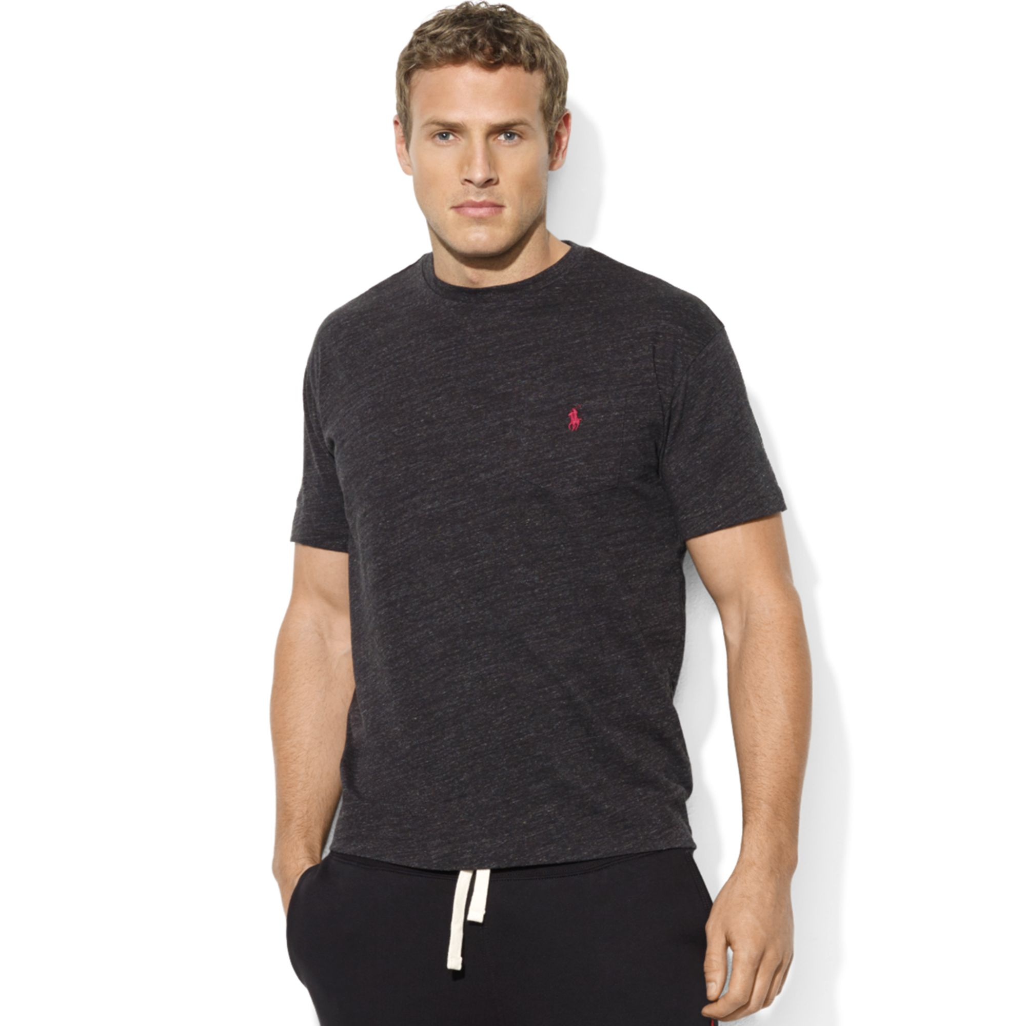 ralph lauren classic fit shortsleeve pocket crew neck cotton jersey tshirt in black for men lyst. Black Bedroom Furniture Sets. Home Design Ideas