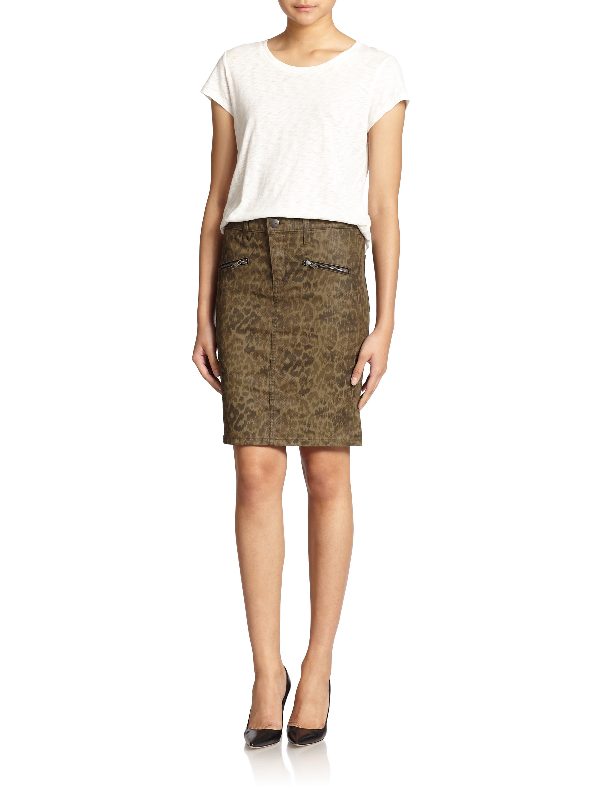 Current/elliott Soho Zip Coated Leopard-Print Denim Skirt in Green ...
