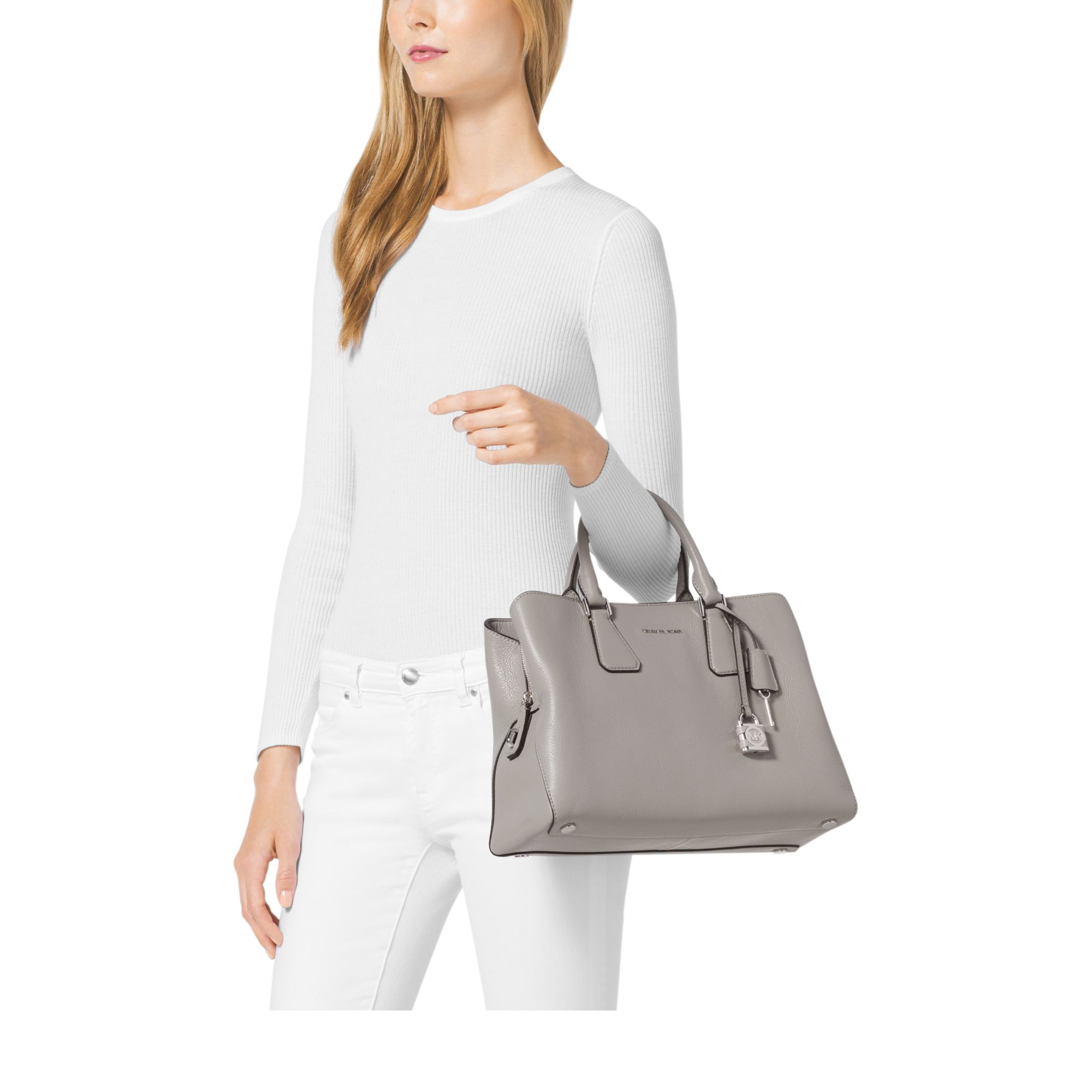 58d13b735cec Michael Kors Camille Large Leather Satchel in Gray - Lyst