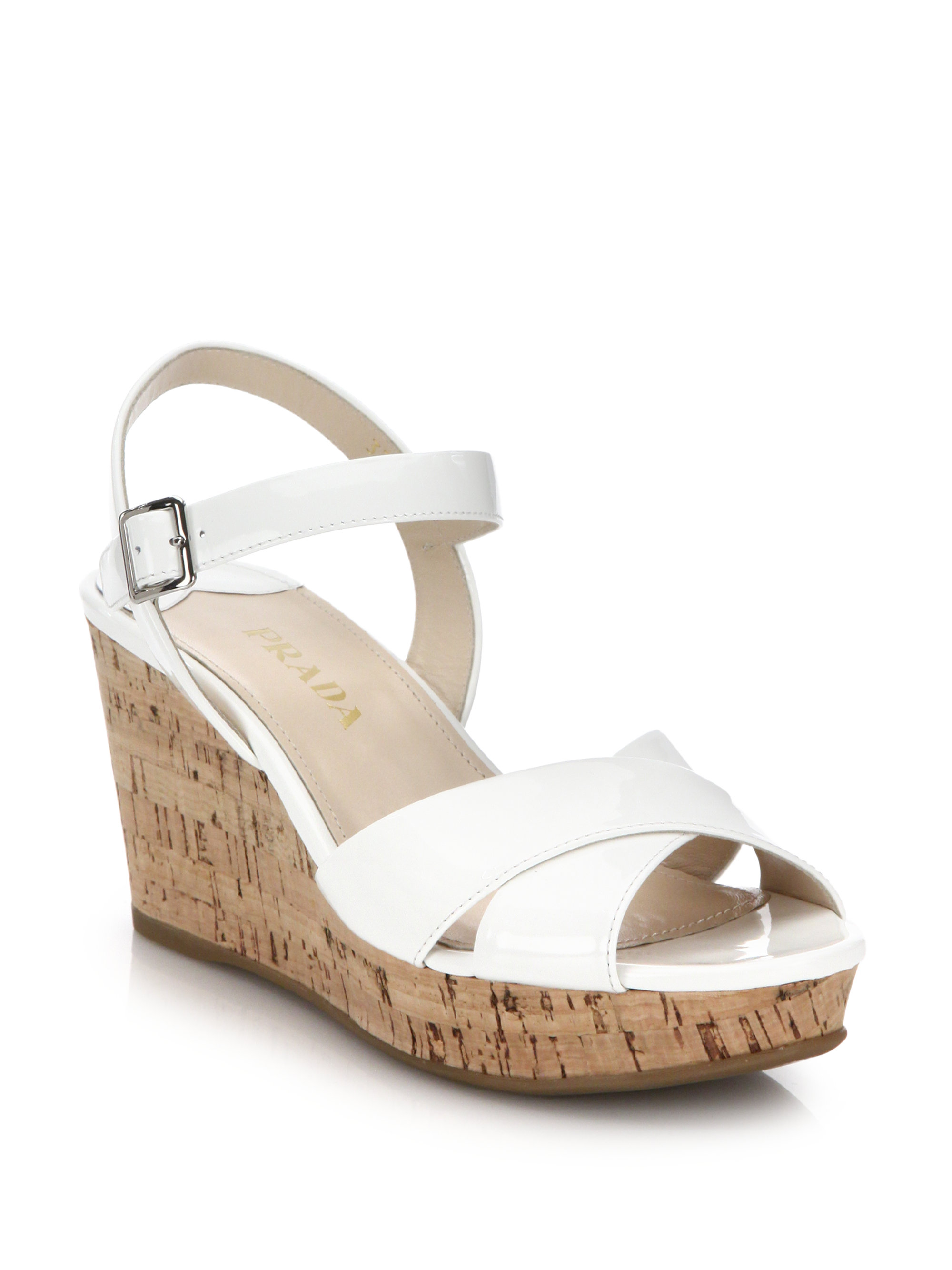 d2f2d442e4986 Lyst - Prada Cork-wedge Patent Leather Sandals in White