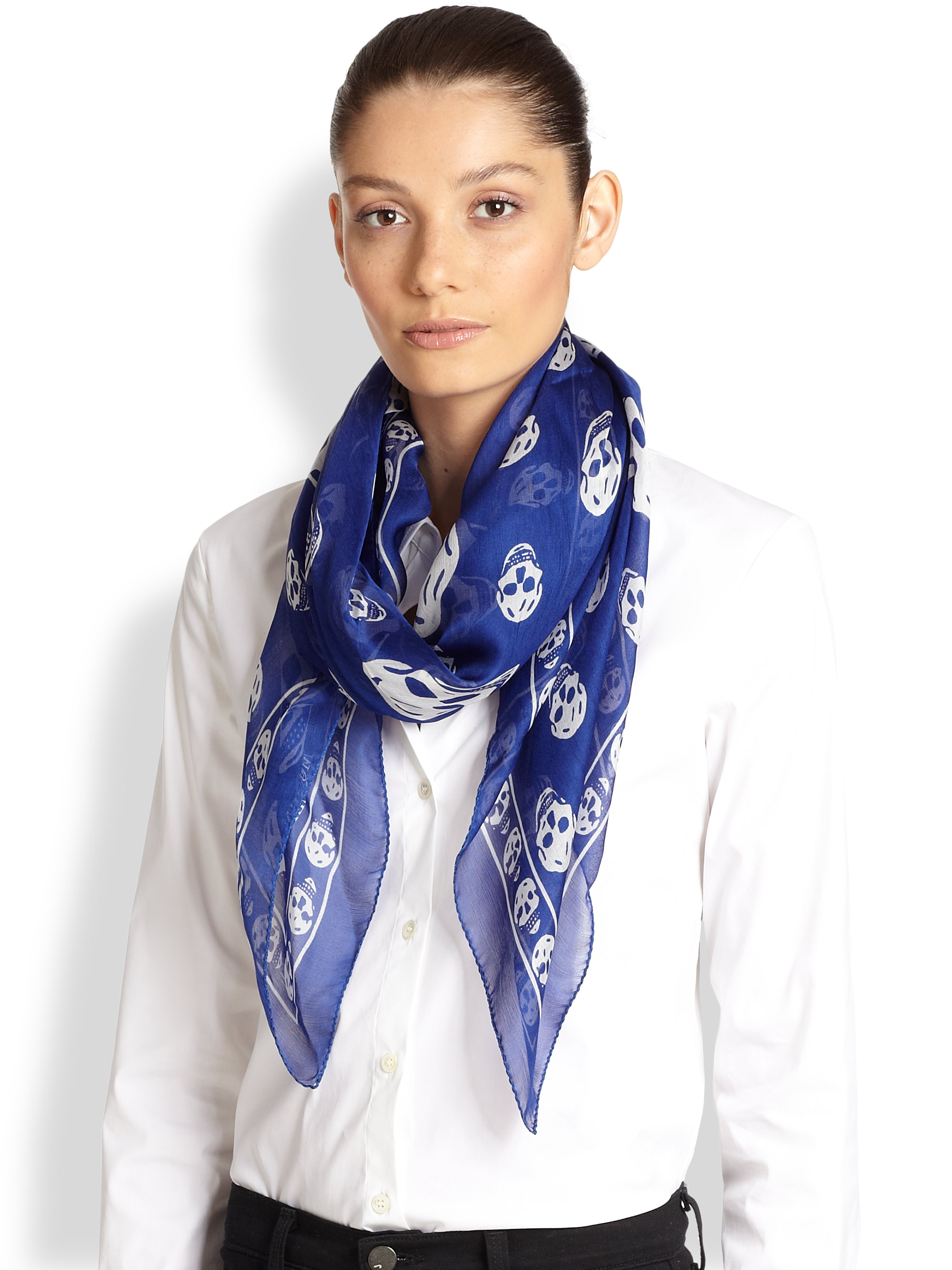 fb2bb84e36f3f Gallery. Previously sold at  Saks Fifth Avenue · Women s Alexander Mcqueen  Skull Scarf ...