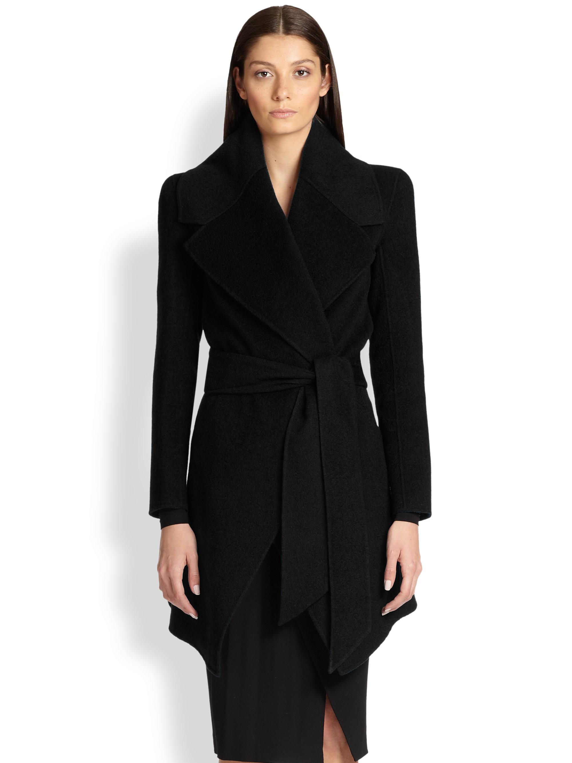 Donna karan Cashmere Wrap Coat in Black | Lyst
